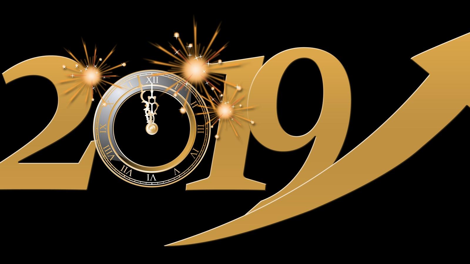 цифры, 2019, часы, циферблат, огни, фон