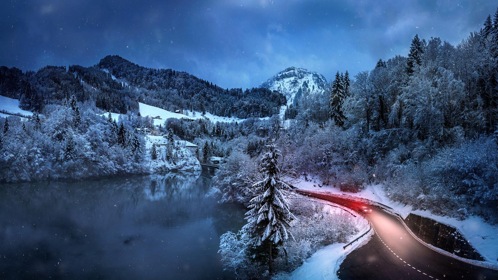 markus stauffer, швейцария, природа, пейзаж, горы, леса, озеро, дорога, посёлок, зима, снег