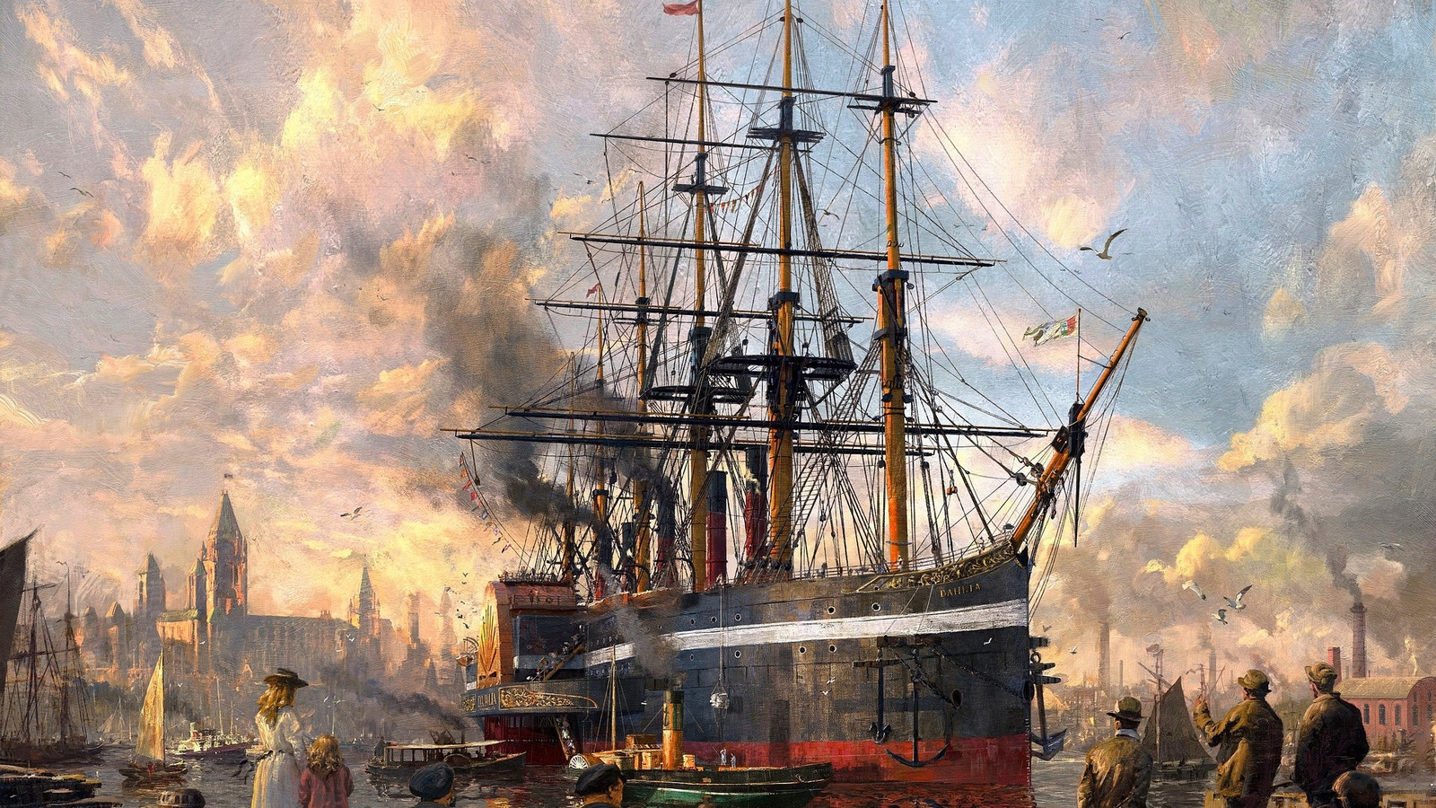порт, корабль, 1800 год