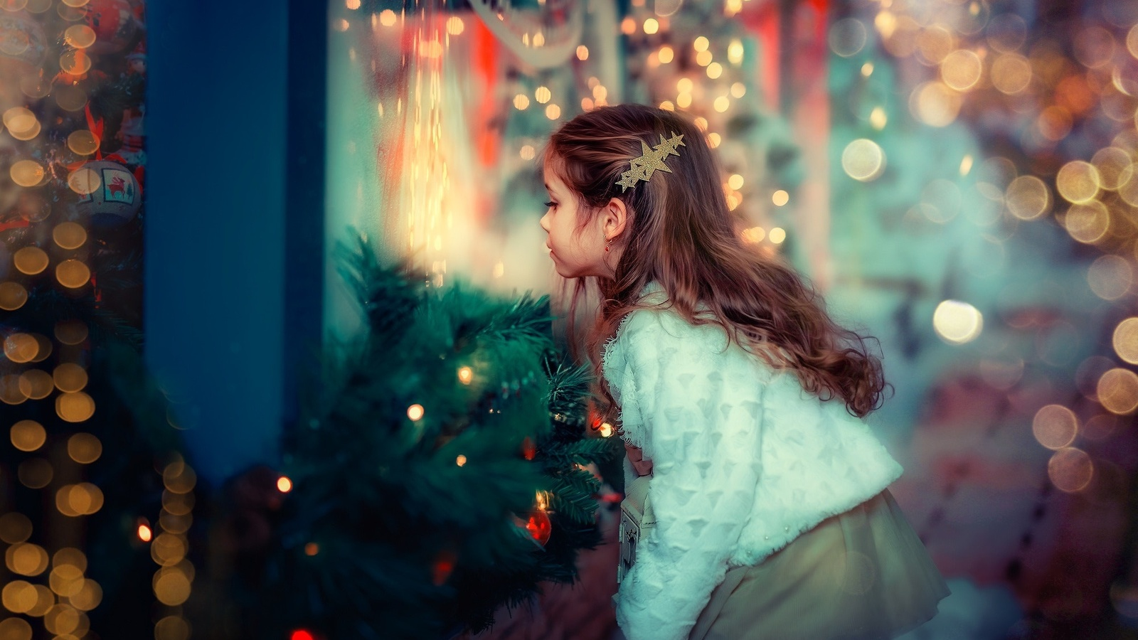 праздник, новый год, рождество, ребёнок, девочка, ёлки, боке, витрина, ekaterina dombrugova