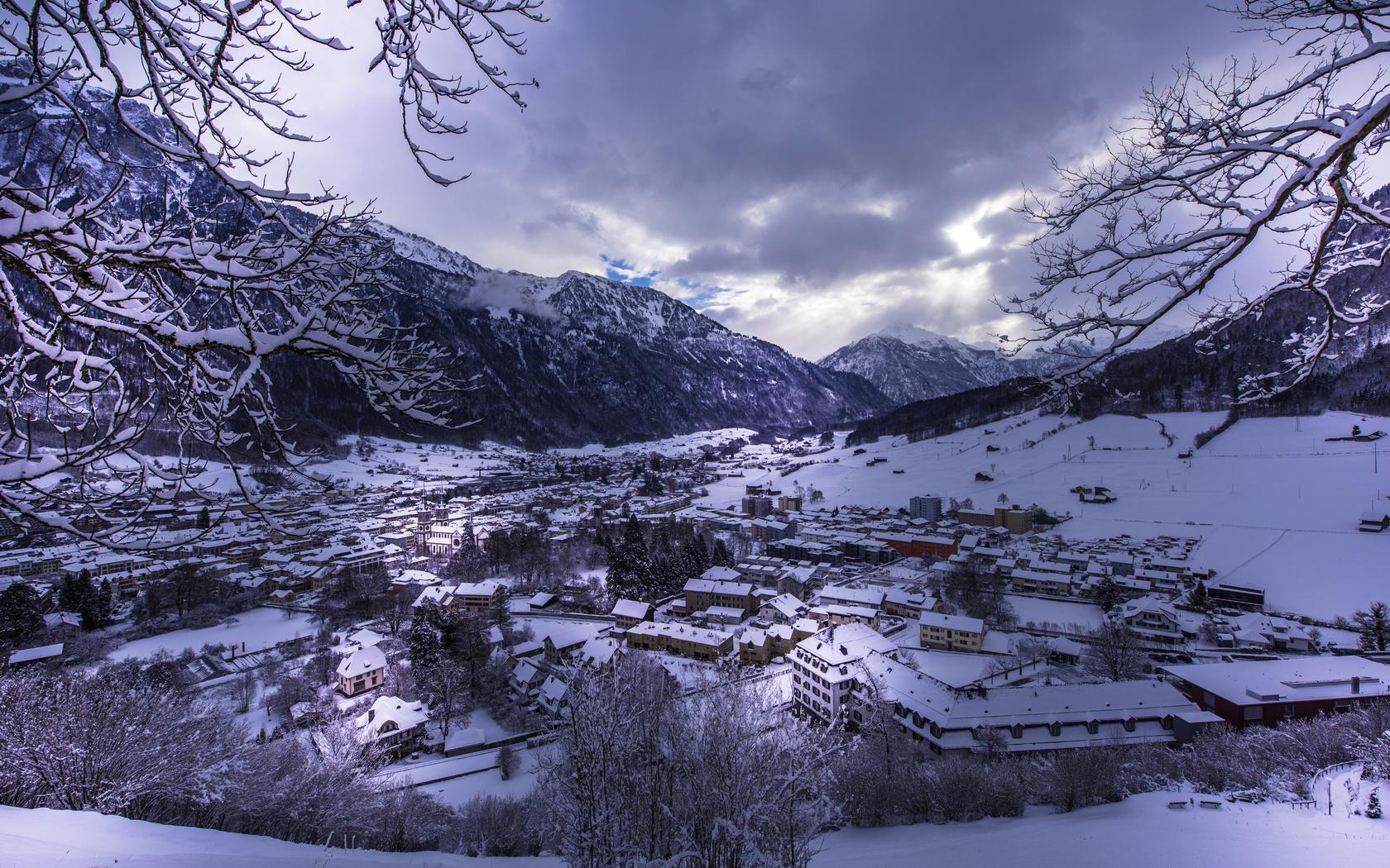 швейцария, горы, зима, снег, городок