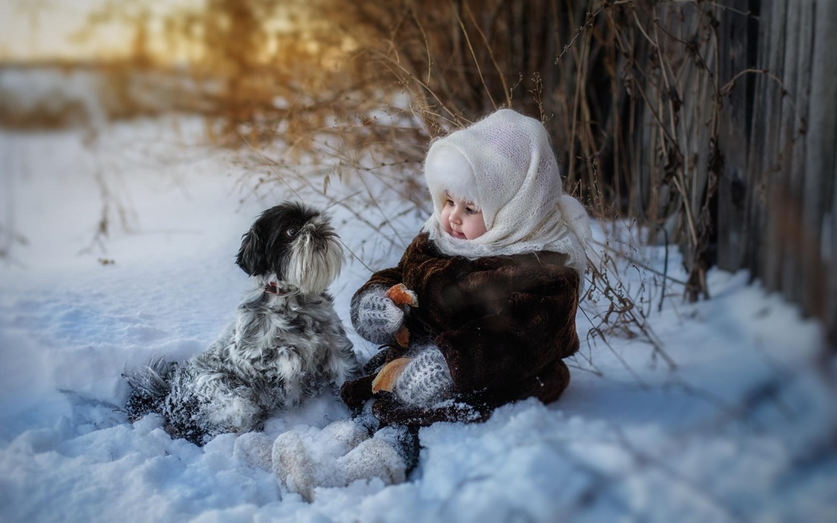 ребёнок, девочка, малышка, животное, собака, природа, зима, снег, трава, бублик