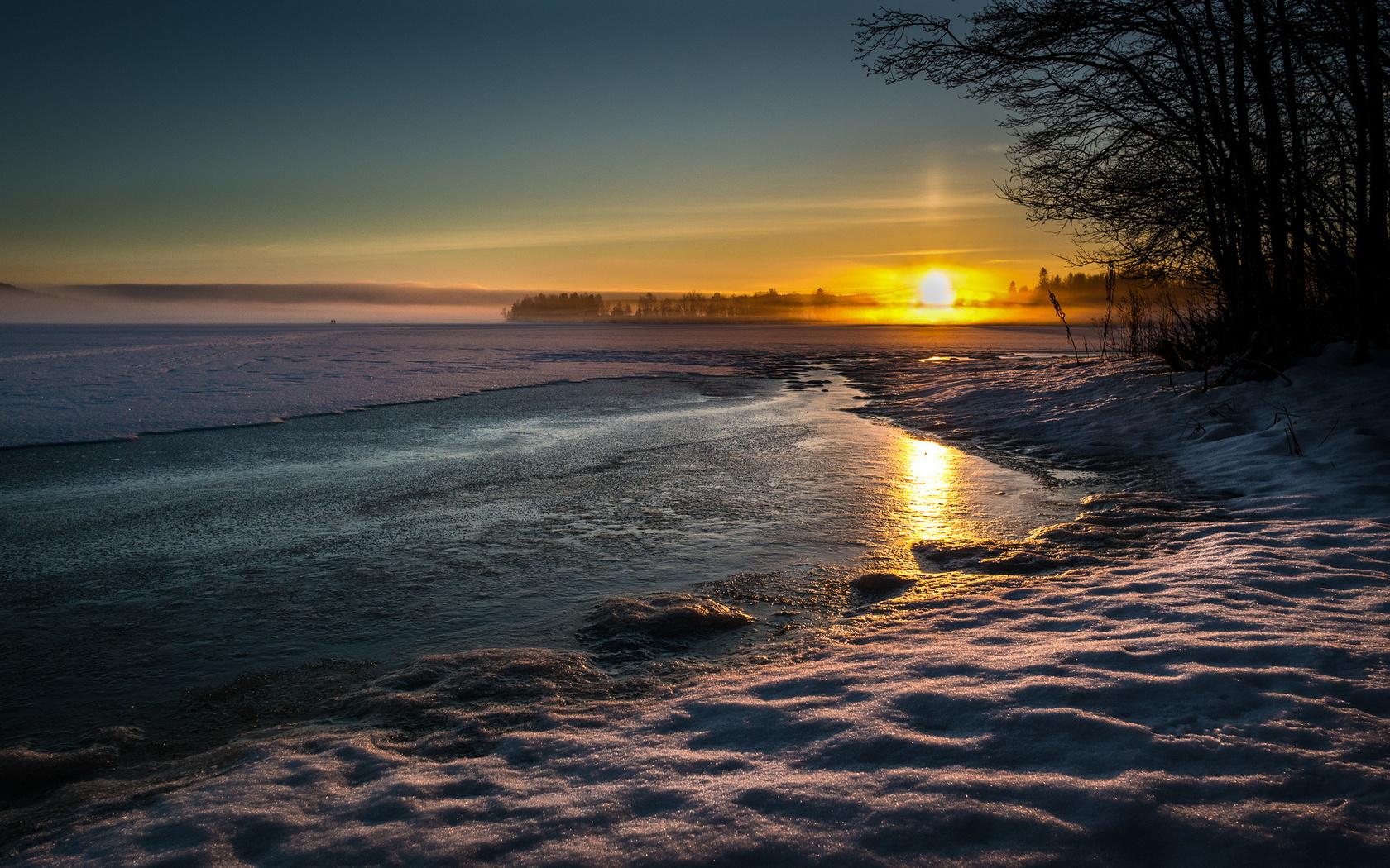 зима, озеро, солнце, снег, пейзаж, закат, природа, вечер, деревья