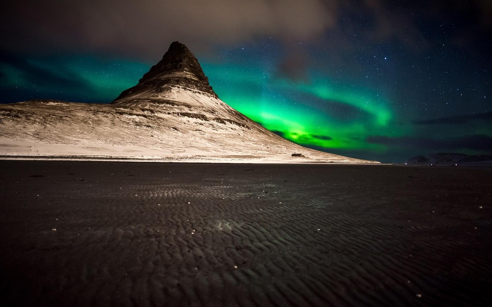 природа, северное сияние, горы