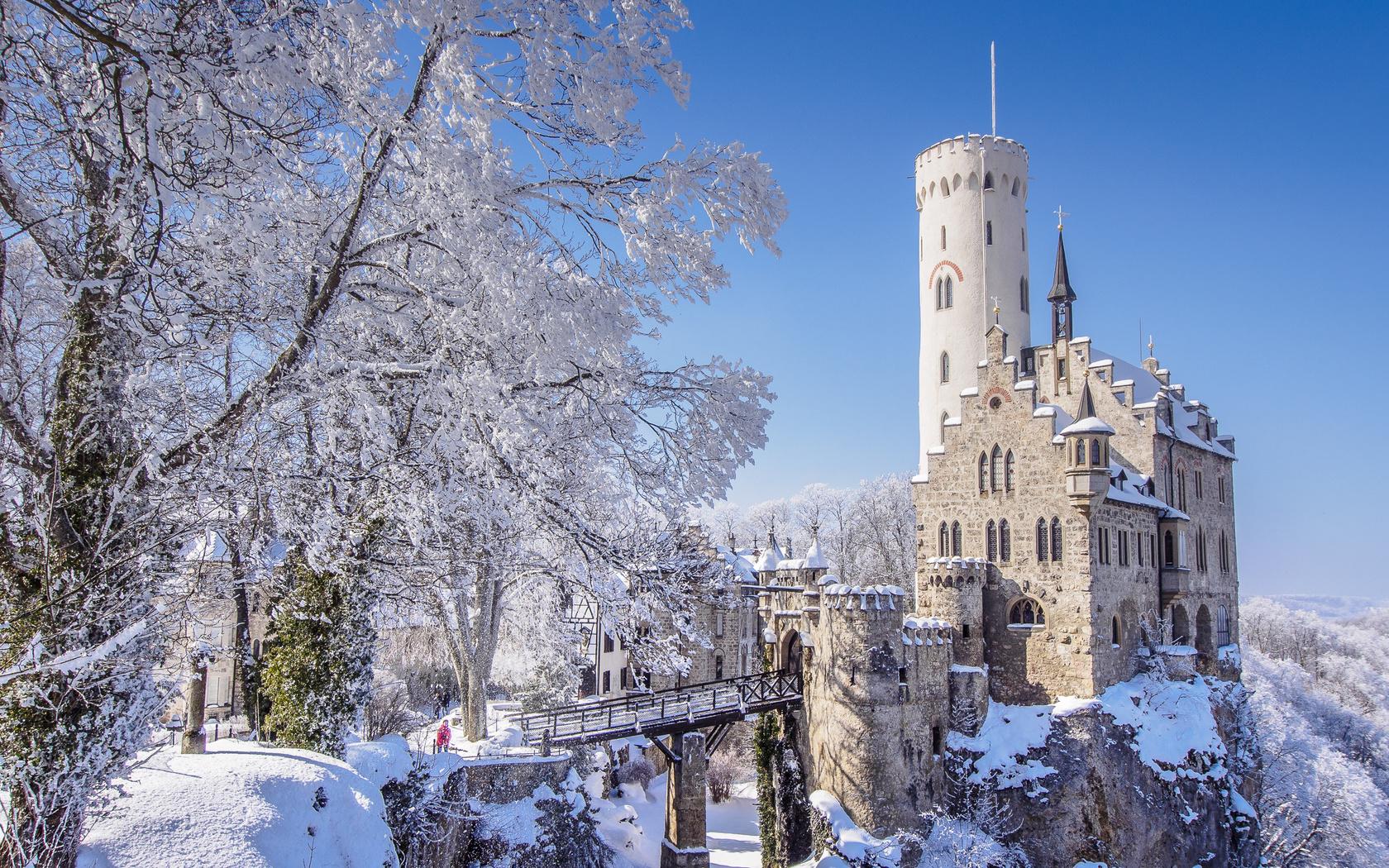 германия, замок, зима, lichtenstein, castle, hanau, baden-wurttemberg, скала, снег