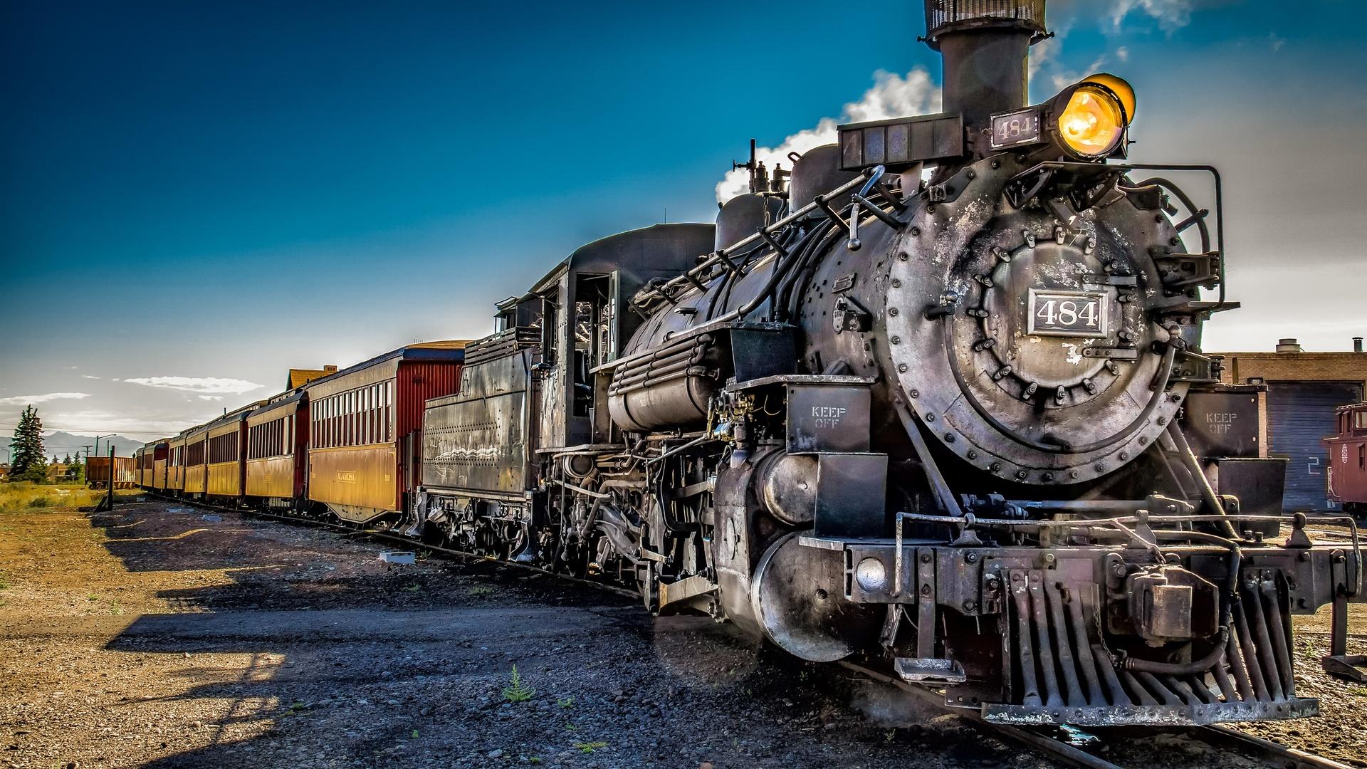 поезд, ретро, паровоз