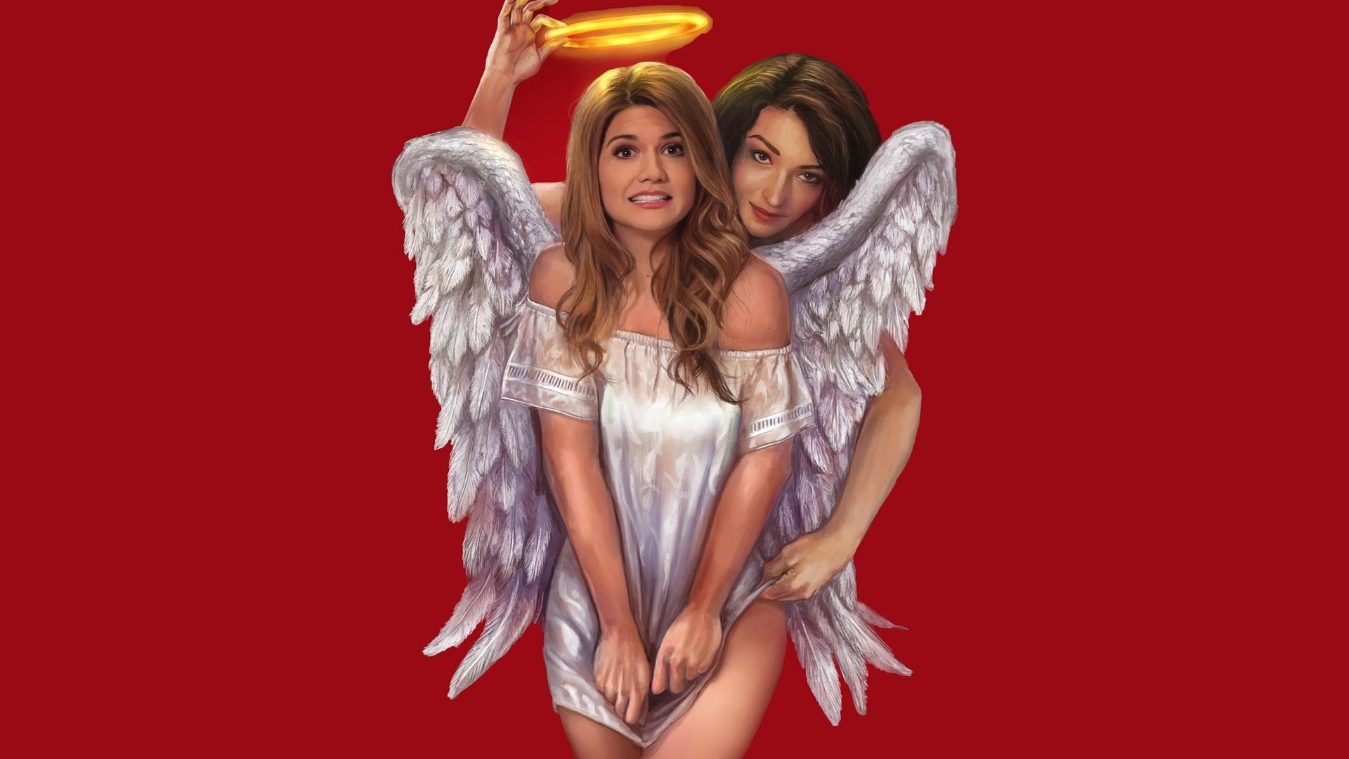 девочки-ангелы, ореол, красный, фон, 3d, digital art, девушки, ангелы