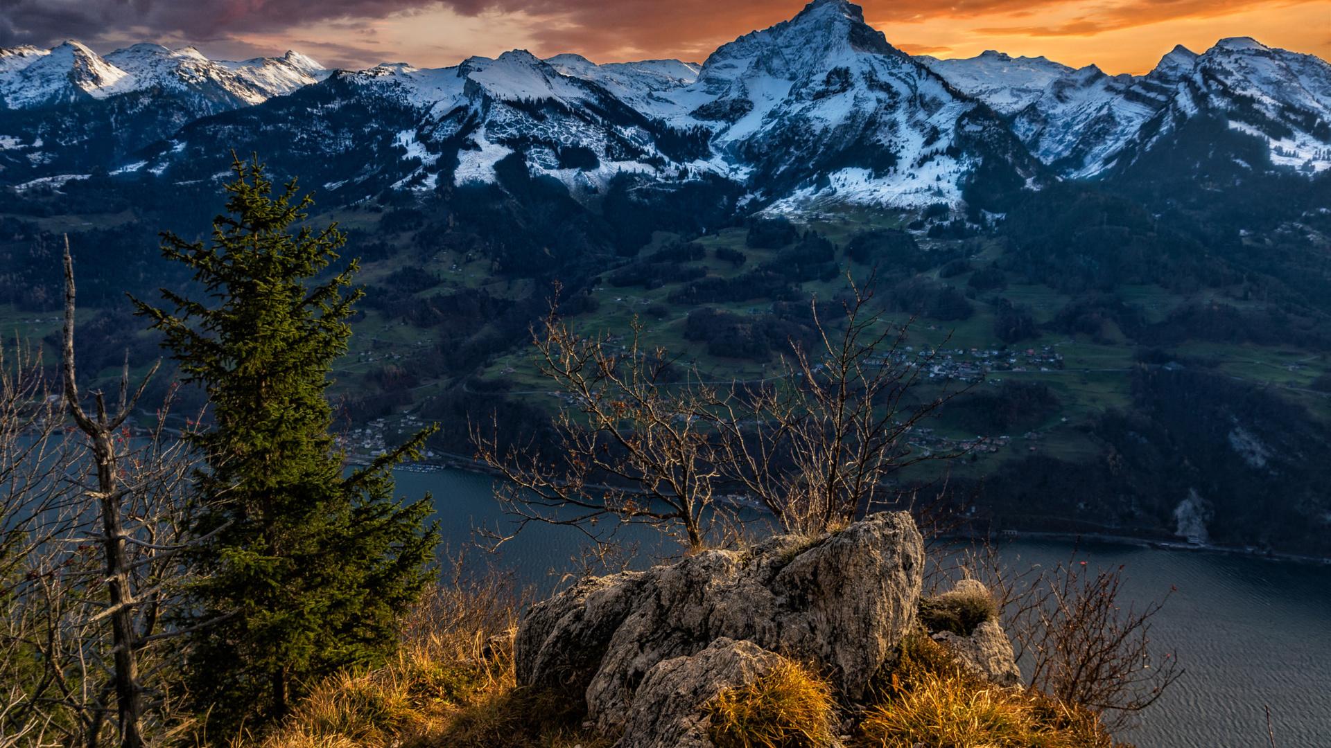 markus stauffer, швейцария, пейзаж, горы, камни, дерево, ель, ёлка, озеро, снег, природа