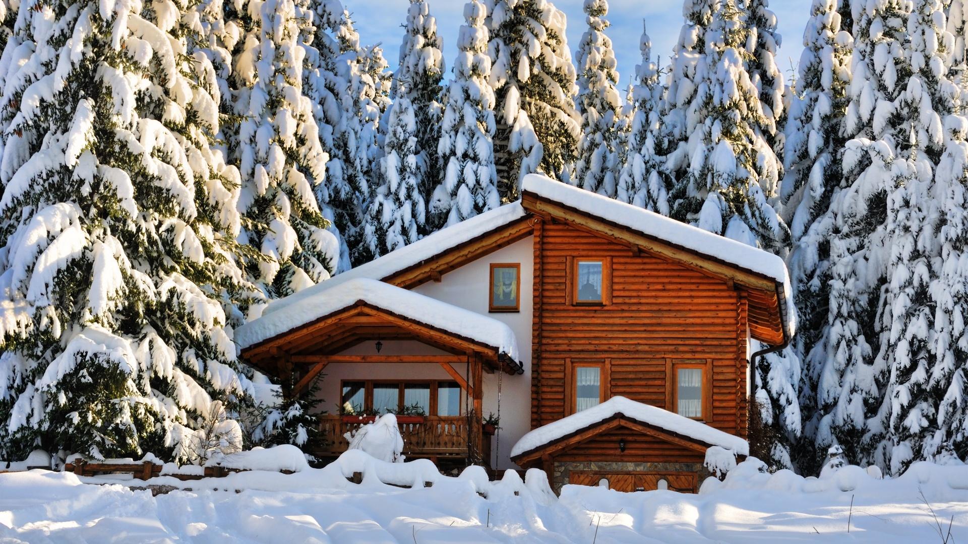 деревянный дом, деревья, снег, зима