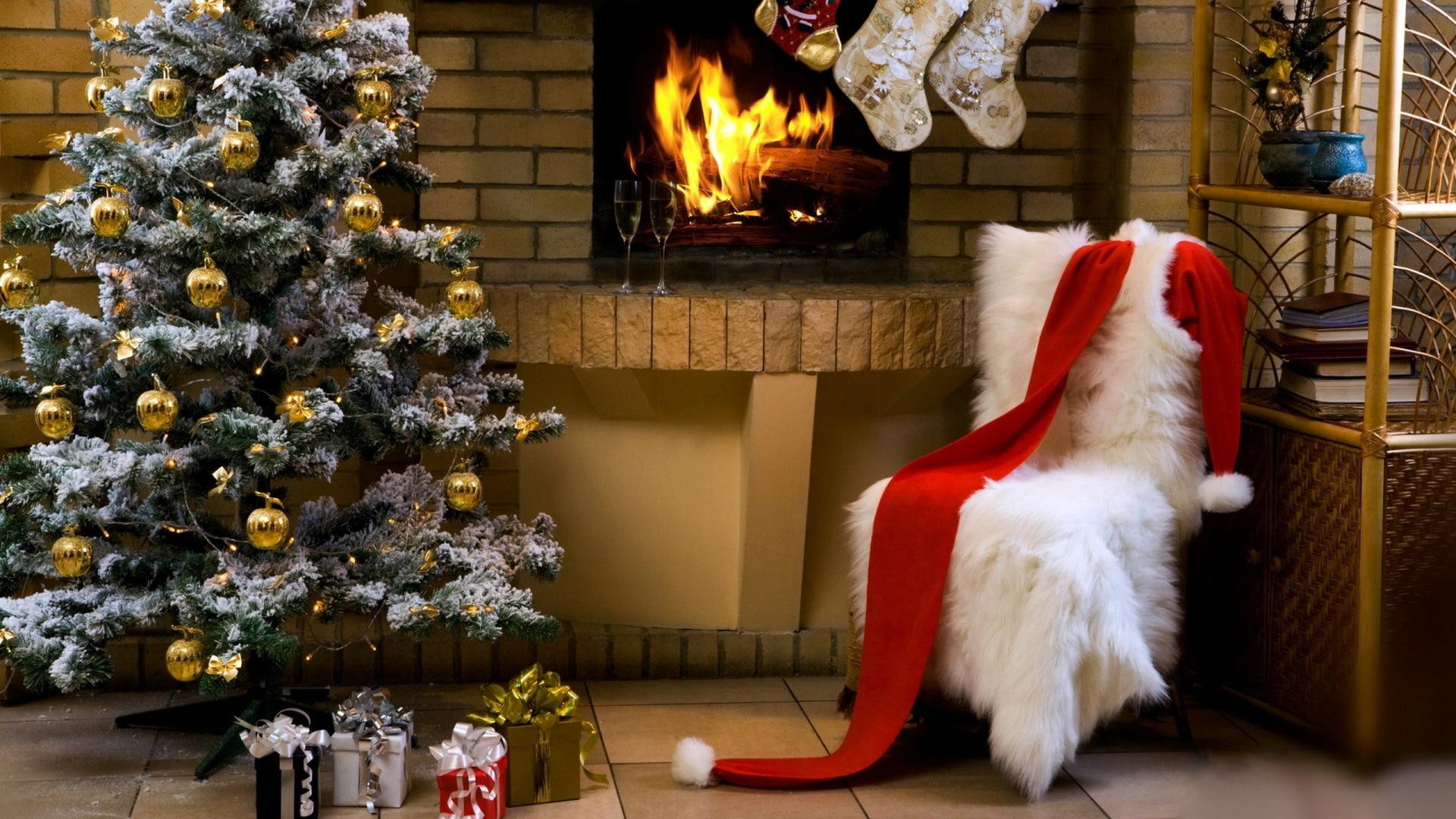 елка, санта клаус, наряд, интерьер, новый год