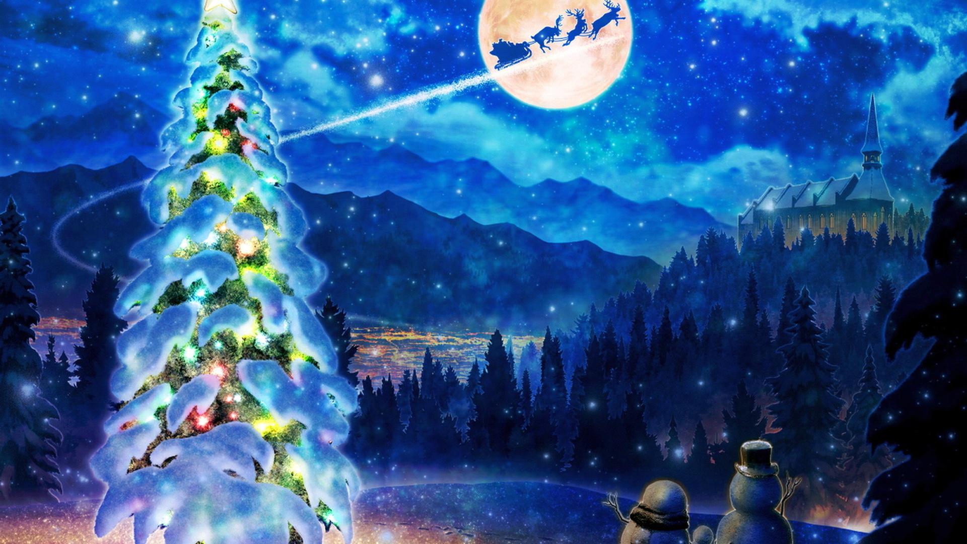 елка, снег, упряжка, санта клаус, снеговики, замок
