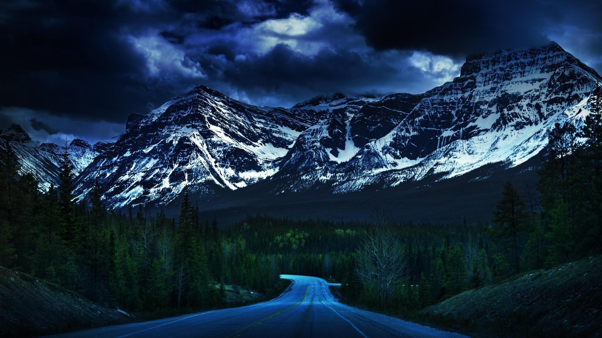 горы, лес, природа, дорога, тучи, снег