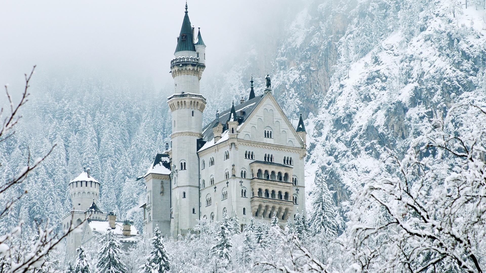 бавария, горы, альпы, замок, нойшванштайн, природа, пейзаж, зима, снег, деревья, леса