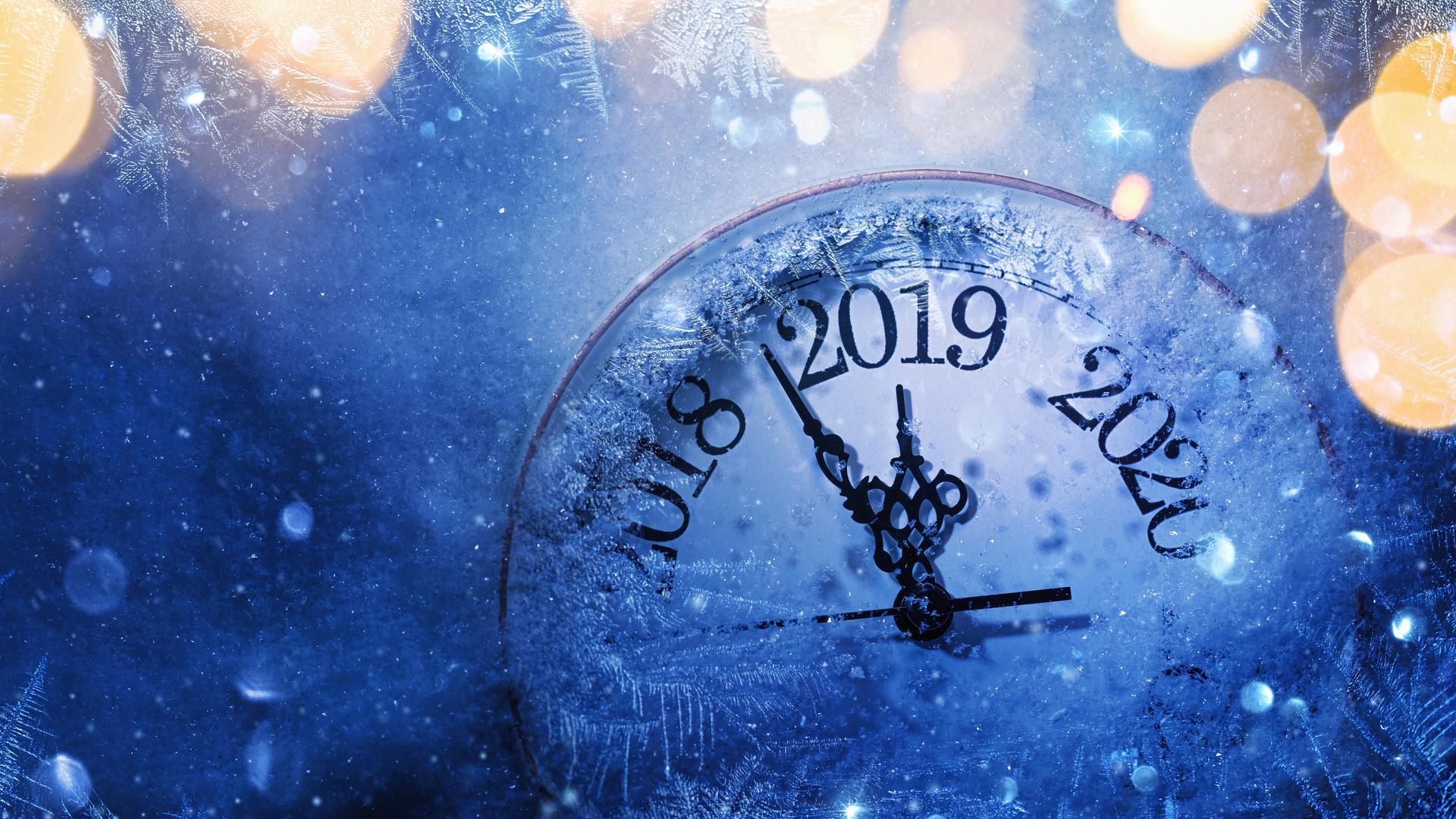 новый год, циферблат, 2019, снег