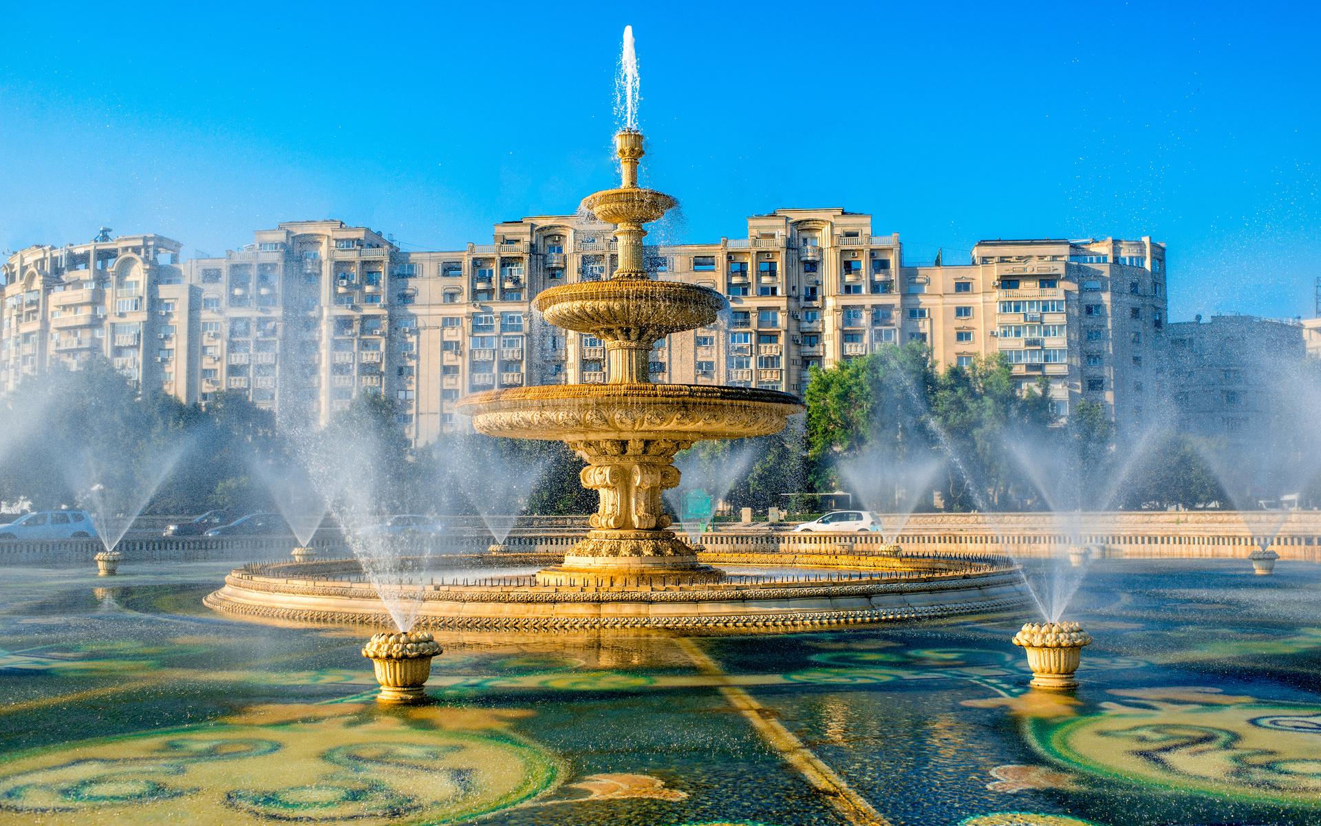 румыния, будапешт, дома, фонтан, брызги, город