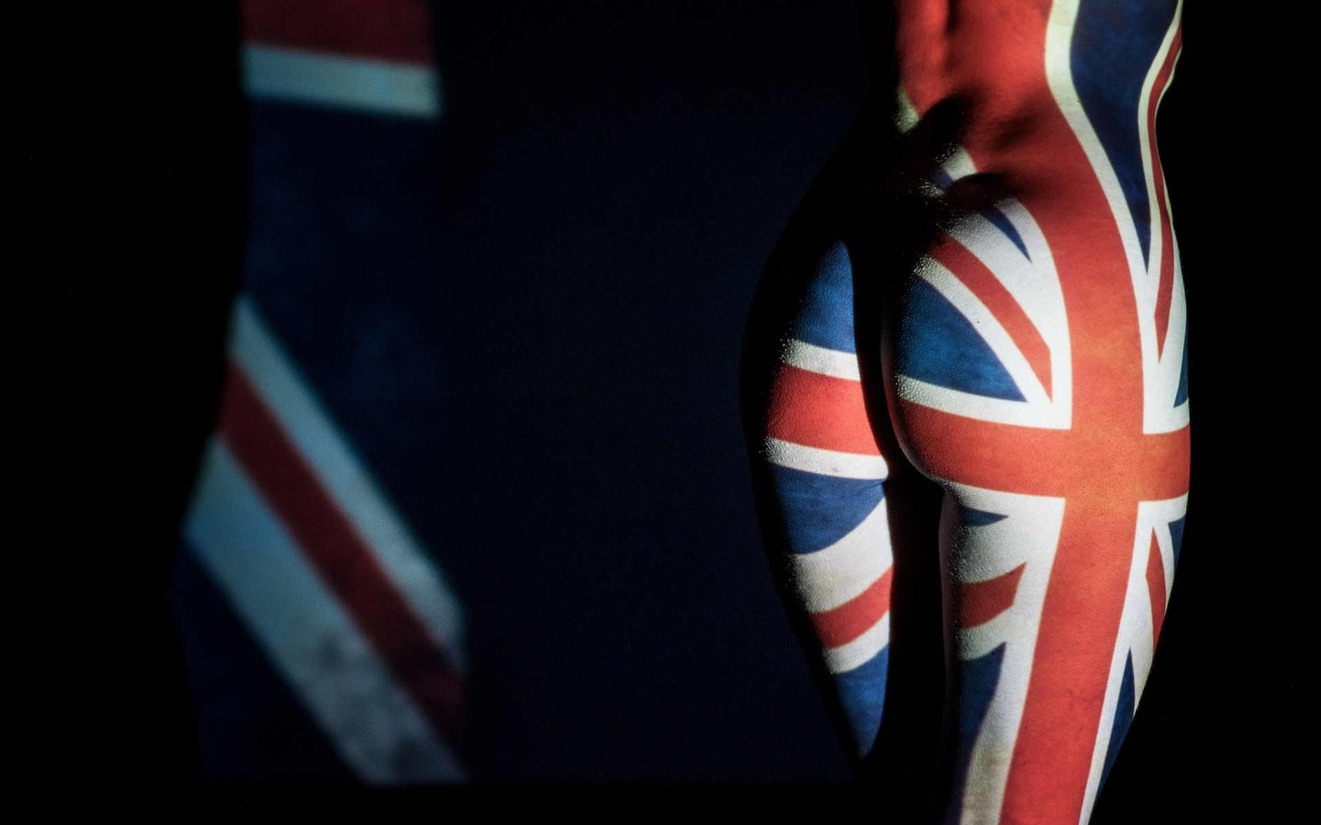 ass, women, nude, dark, flag, union jack, british, body paint, британский флаг