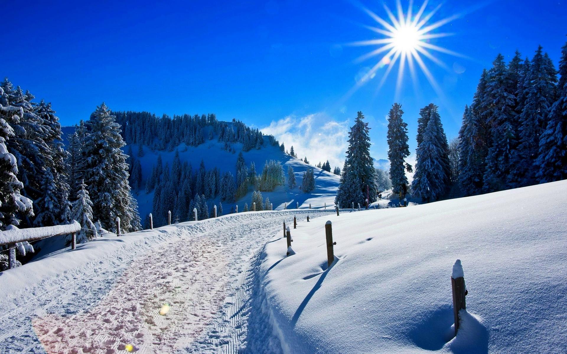 природа, пейзаж, горы, холмы, зима, снег, дорога, деревья, лес, ели солнце, лучи, ели, солнце