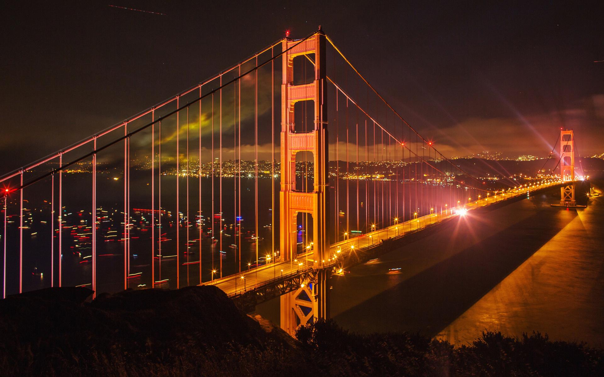 golden gate bridge, evening, night, cityscape, city lights, san francisco