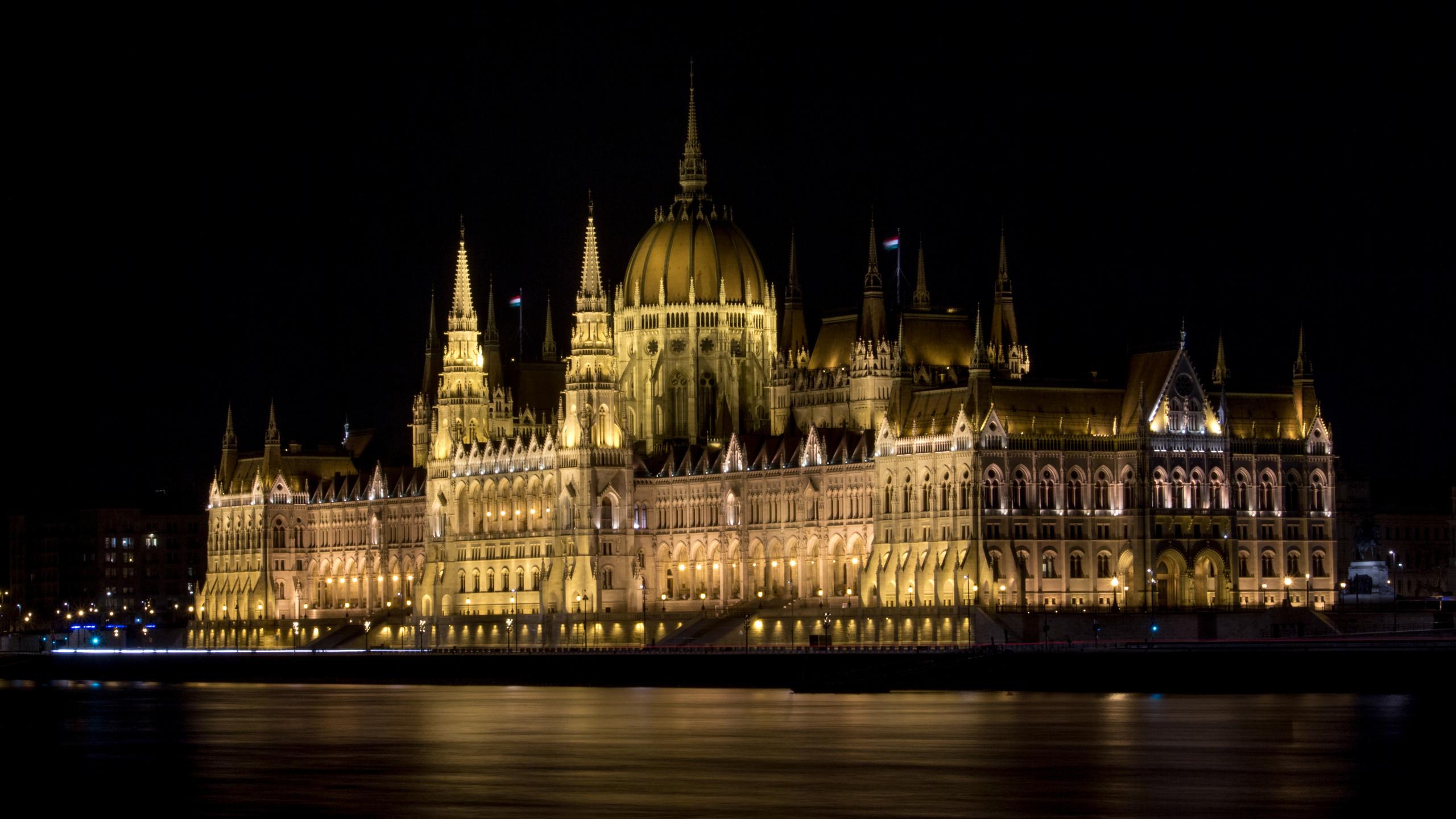 венгрия, будапешт, палата парламента, огни, река, ночь