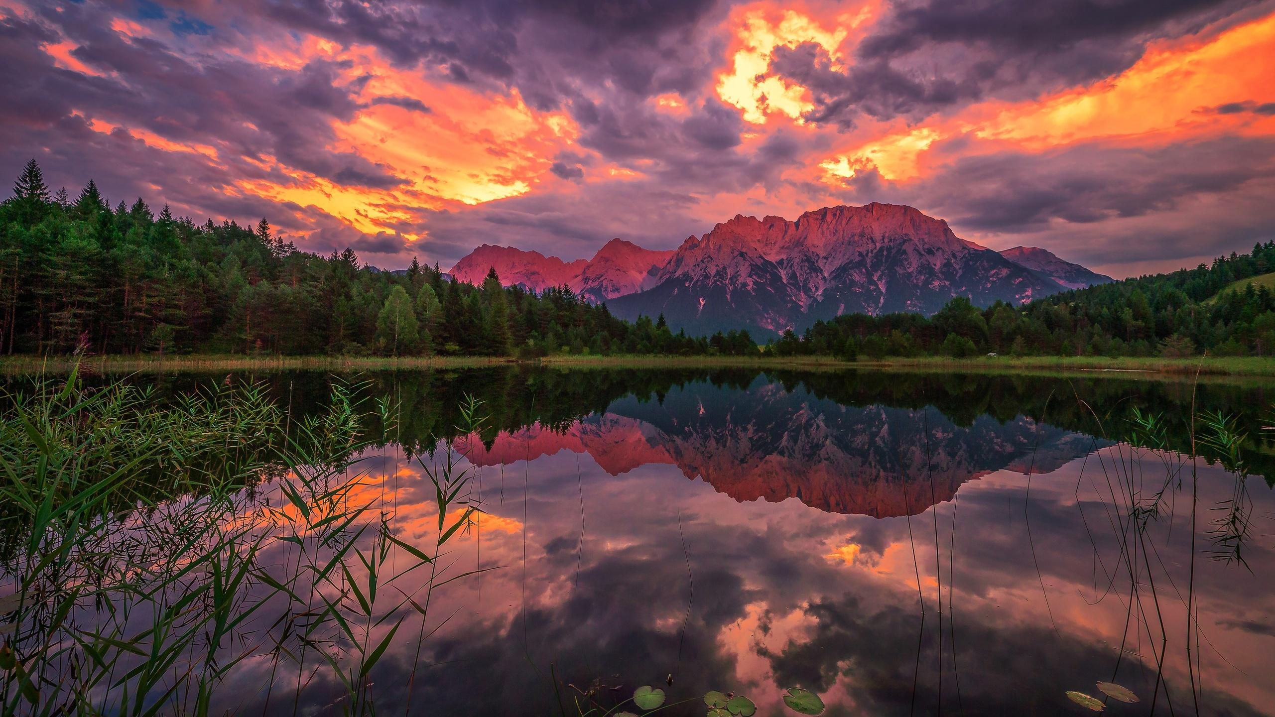 лес, небо, облака, горы, отражение, берег, вершины, вечер, водоем