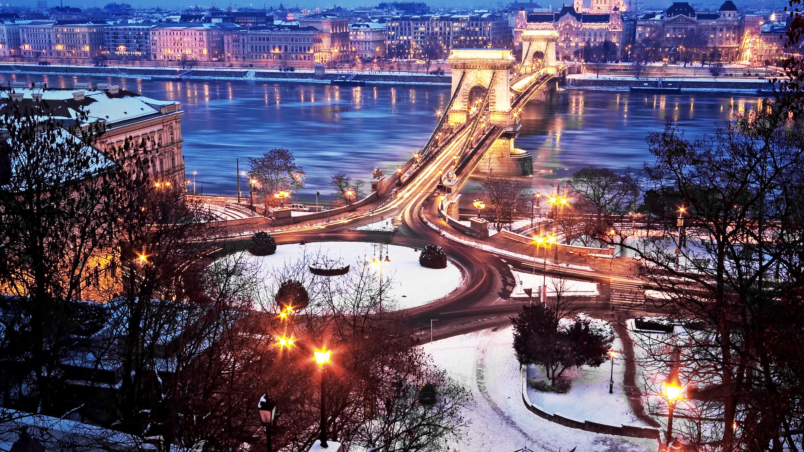 будапешт, мост, река, зима, город, здания, вечер