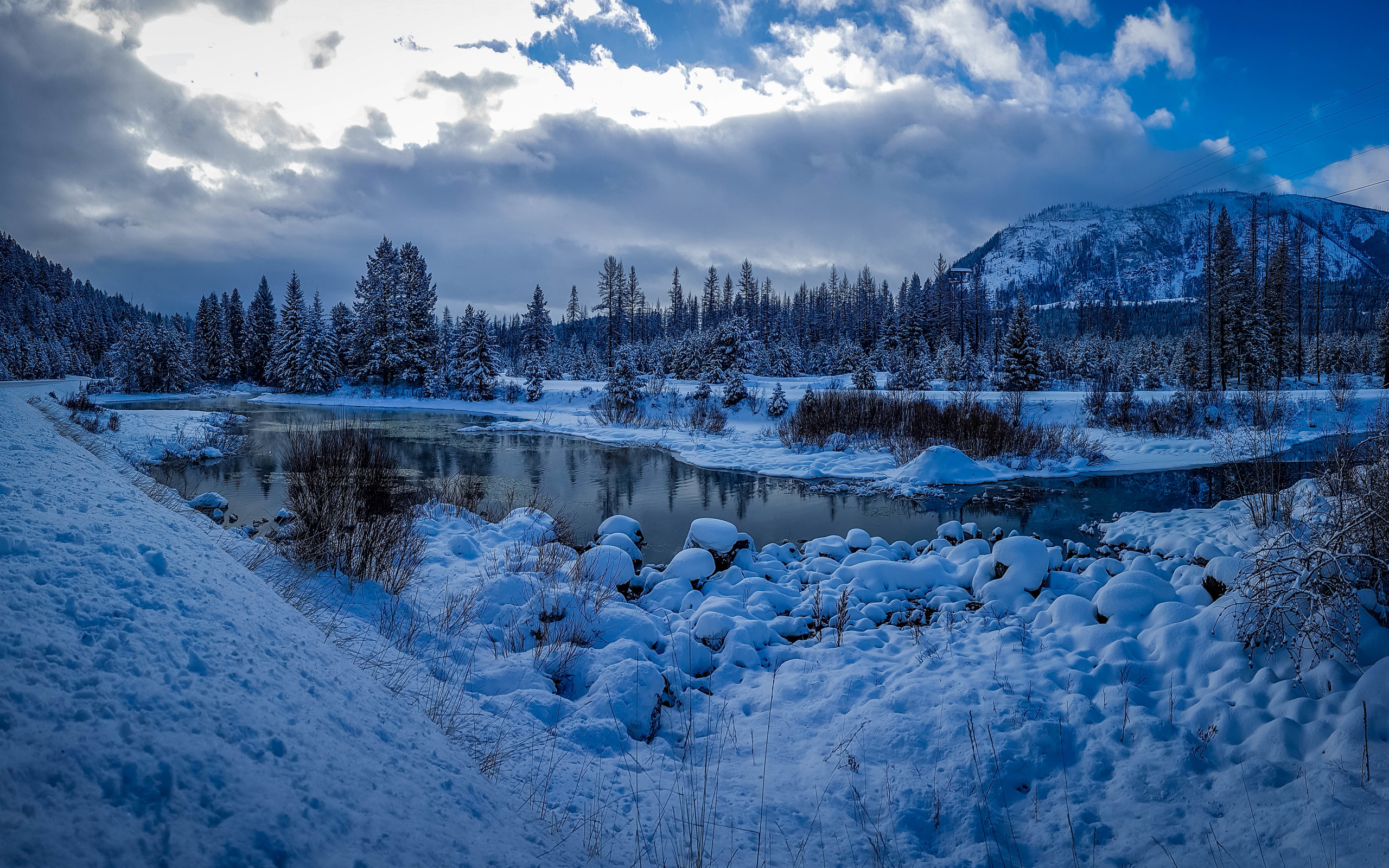 вечер, вода, небо, природа, река, зима, снег