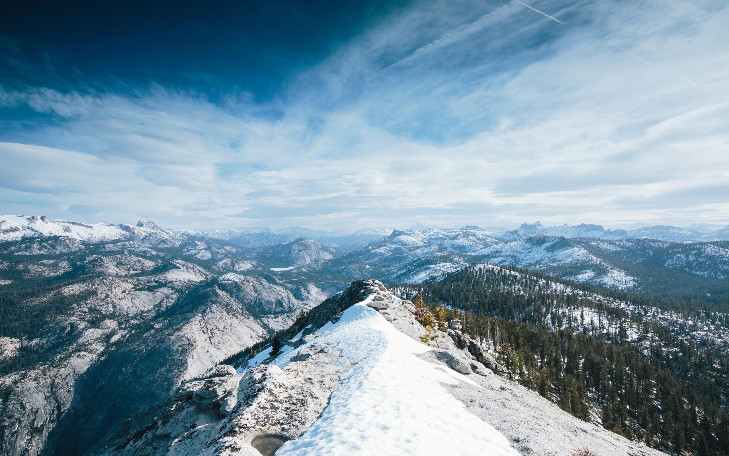 yosemite, 5k, 4k wallpaper, 8k, winter, snow, forest, osx, apple, mountains, nature