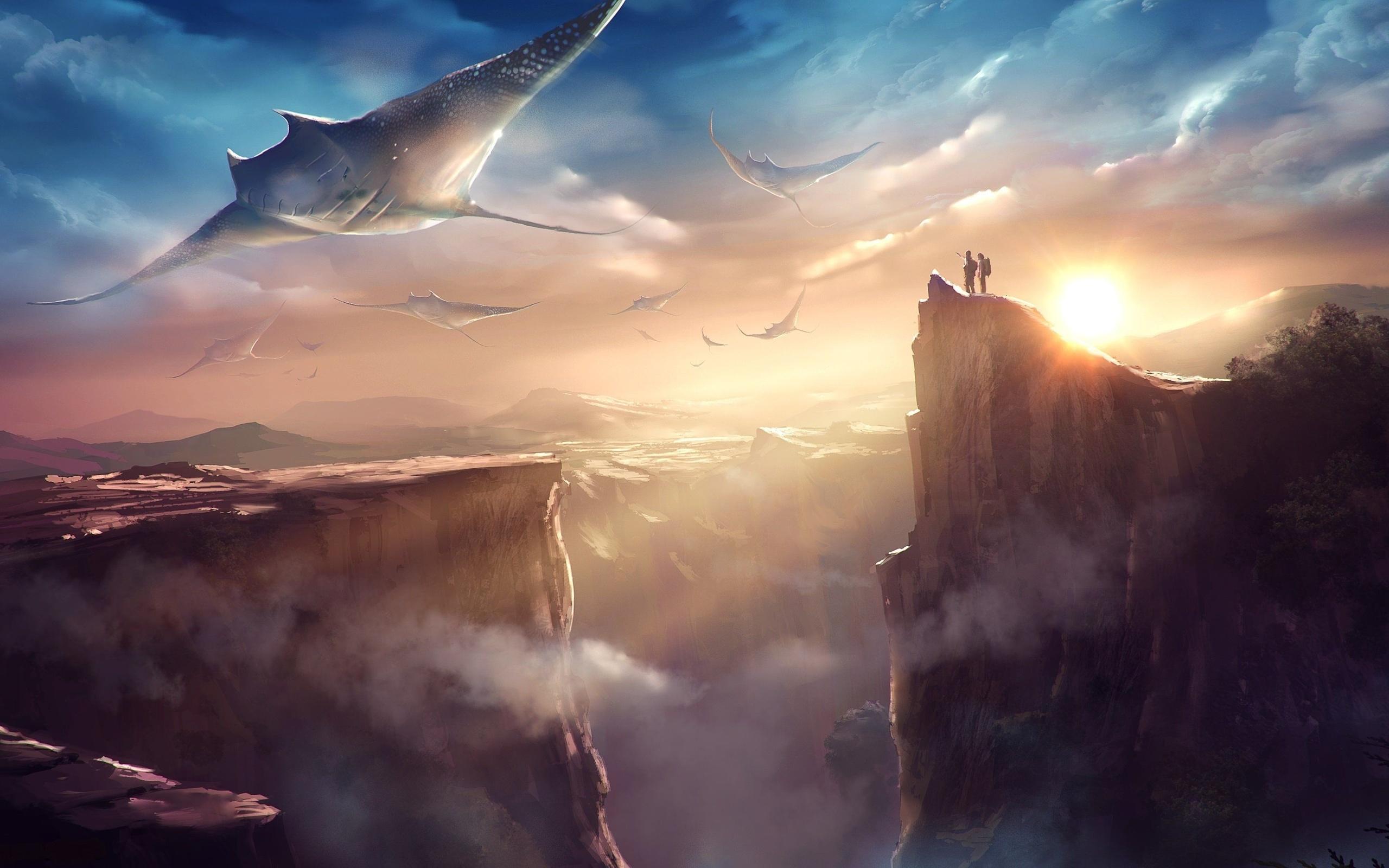 горы, скат, скалы, солнце, облака, мир фантазий, фэнтези