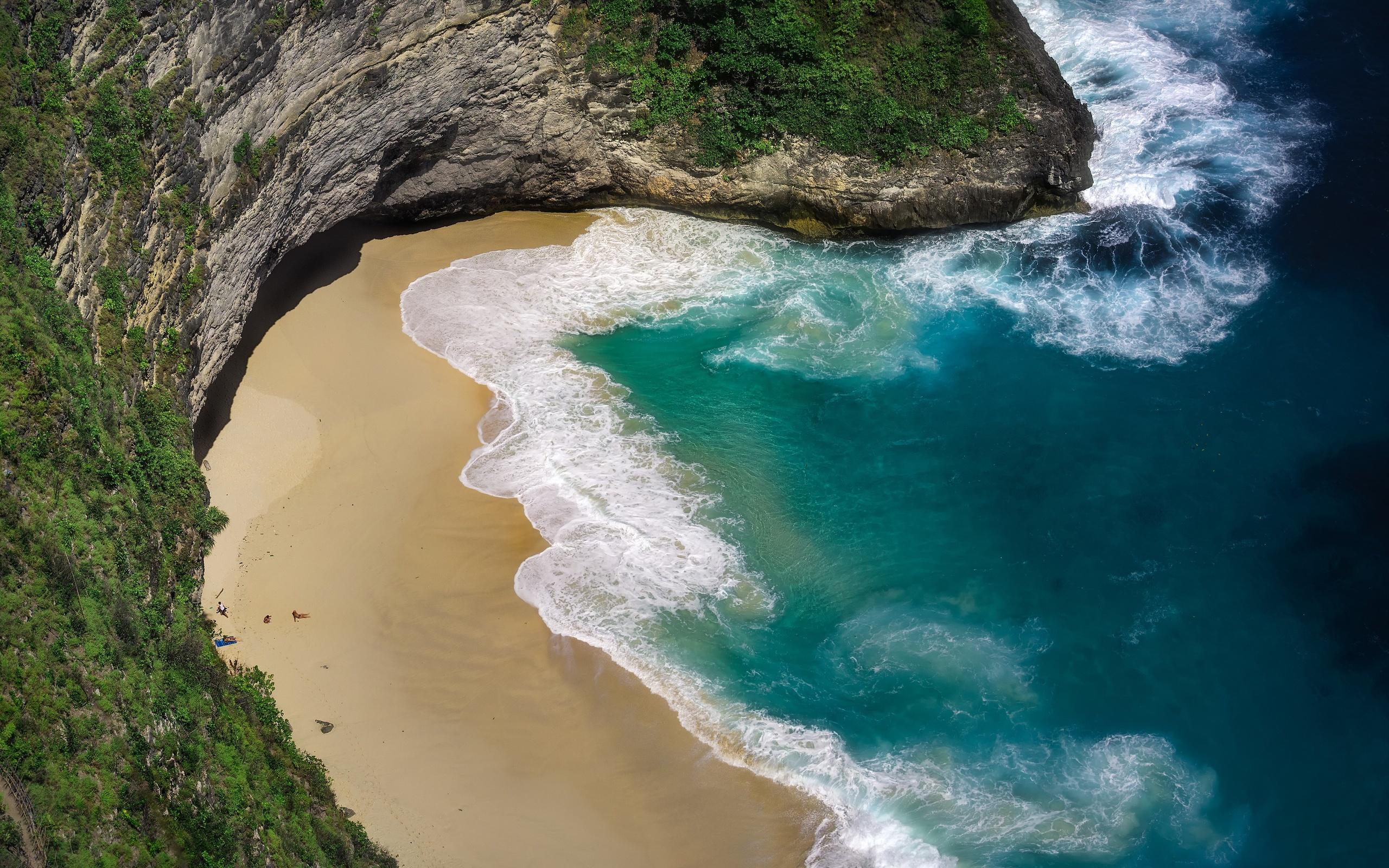 красивый, пляж, море, волны, нуса пенида