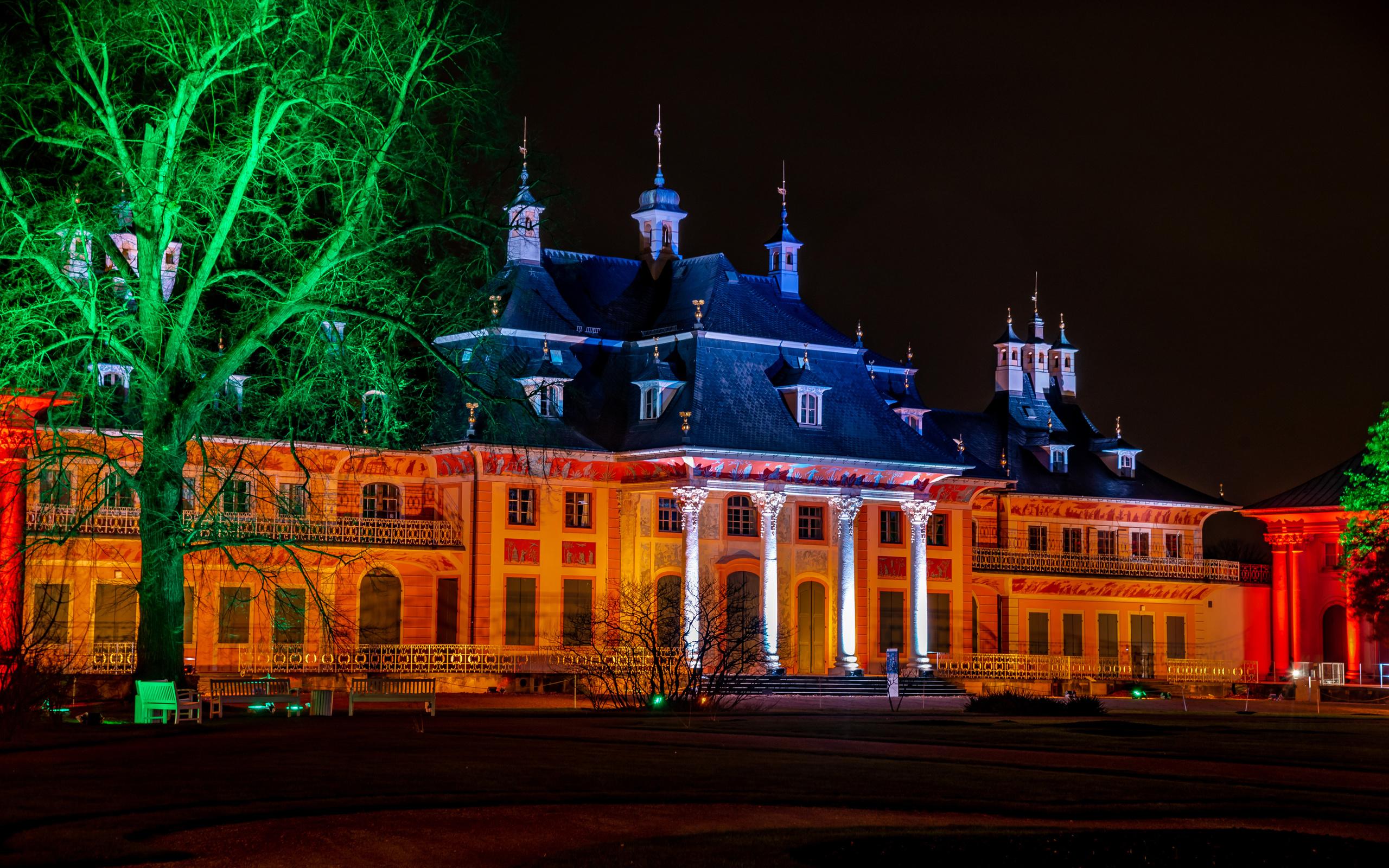 германия, дома, schloss pillnitz, дворец, ночь, деревья, город