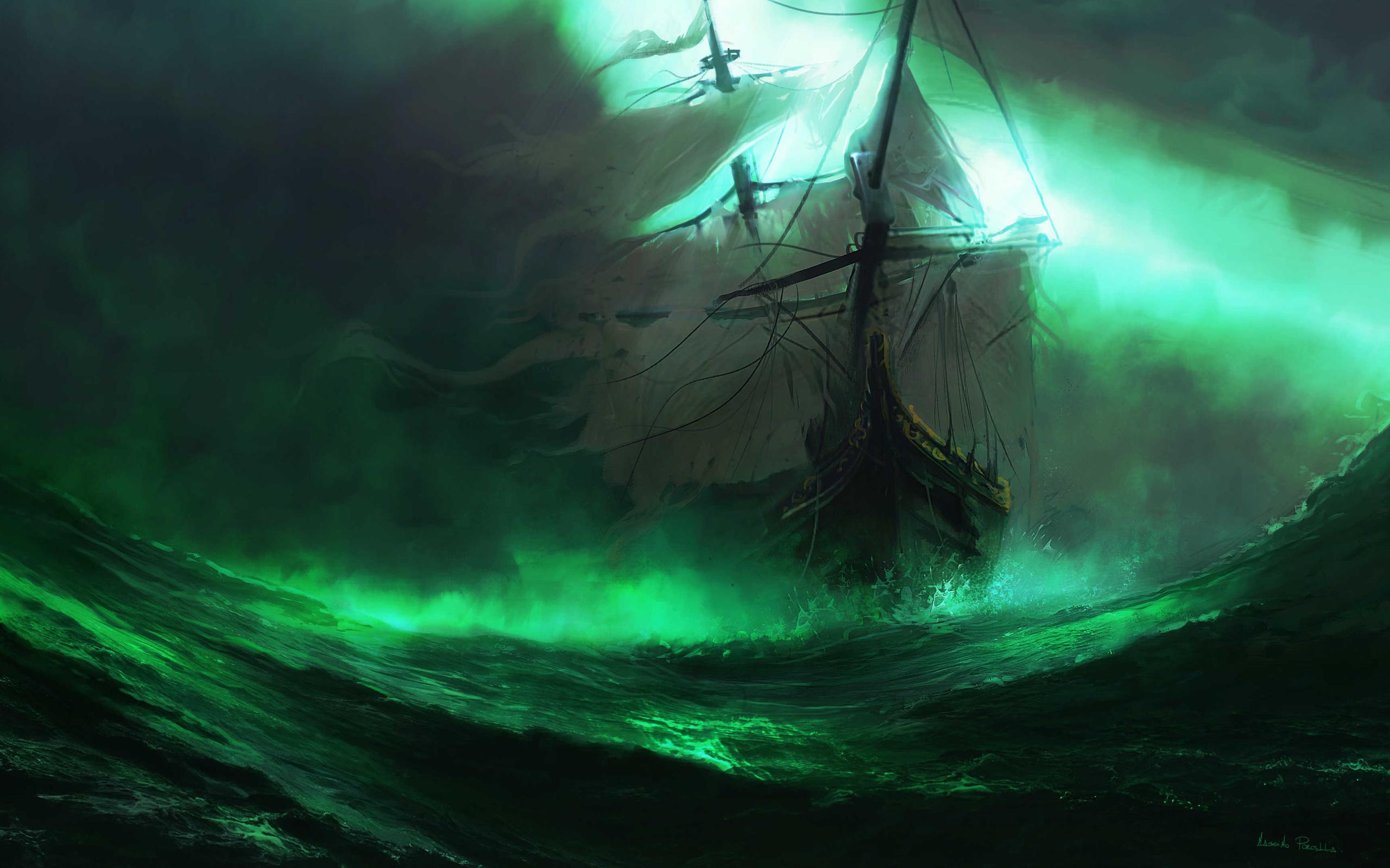 корабль, парусник, искусство, фэнтези, море