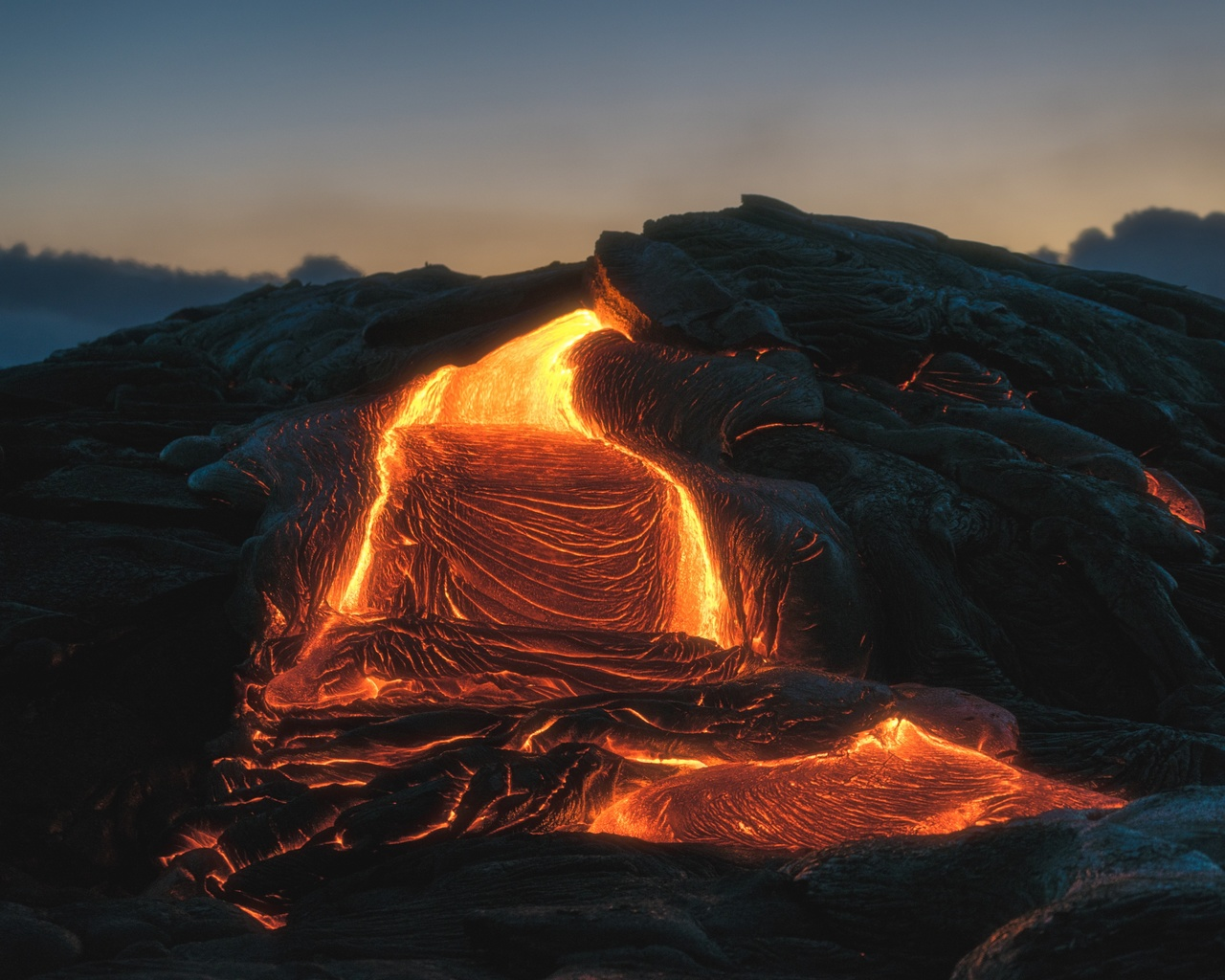 природа, вулкан, лава, огненный