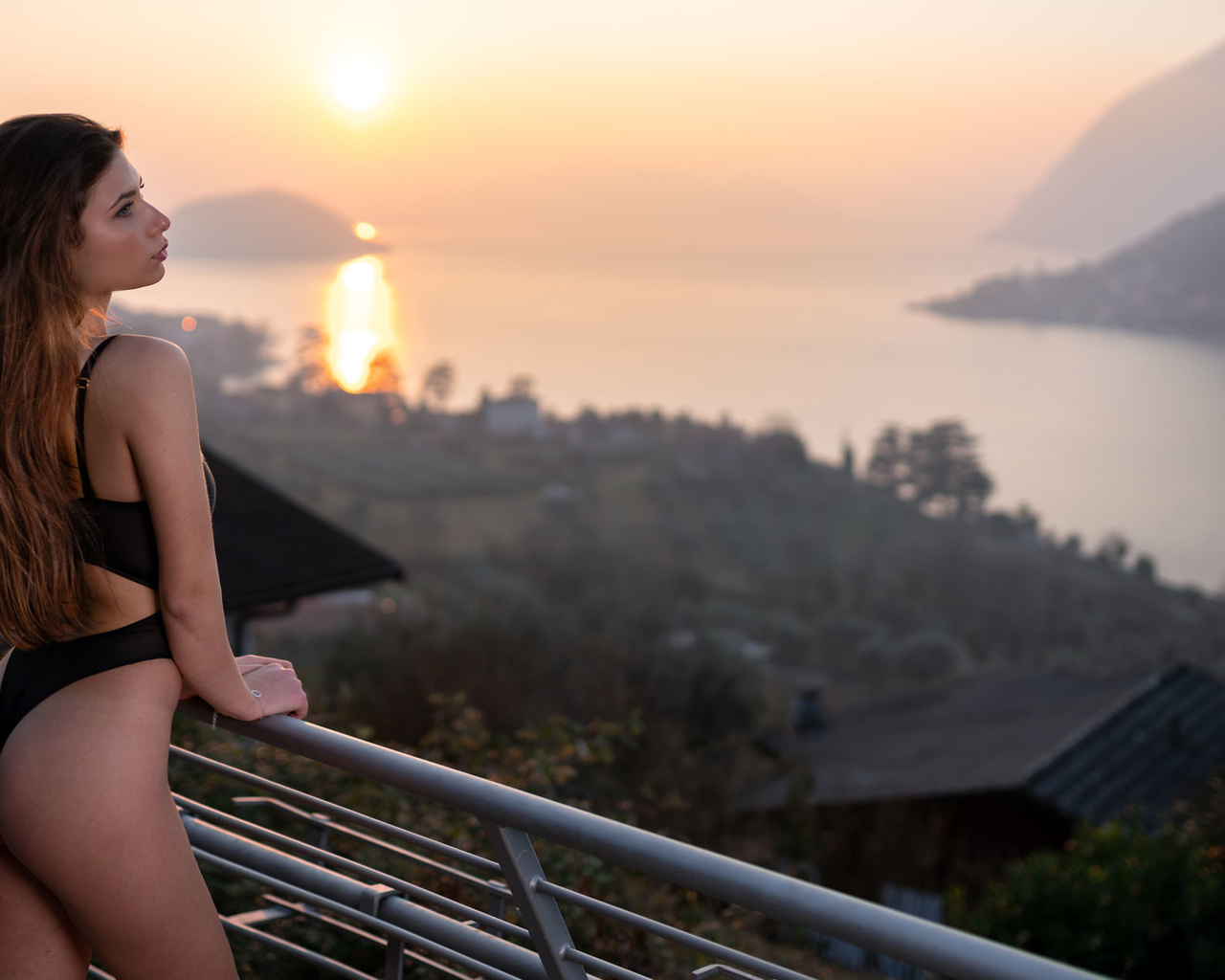 women, marco squassina, sunset, sea, body lingerie, brunette, women outdoors, looking away, ass, long hair, black lingerie, balcony
