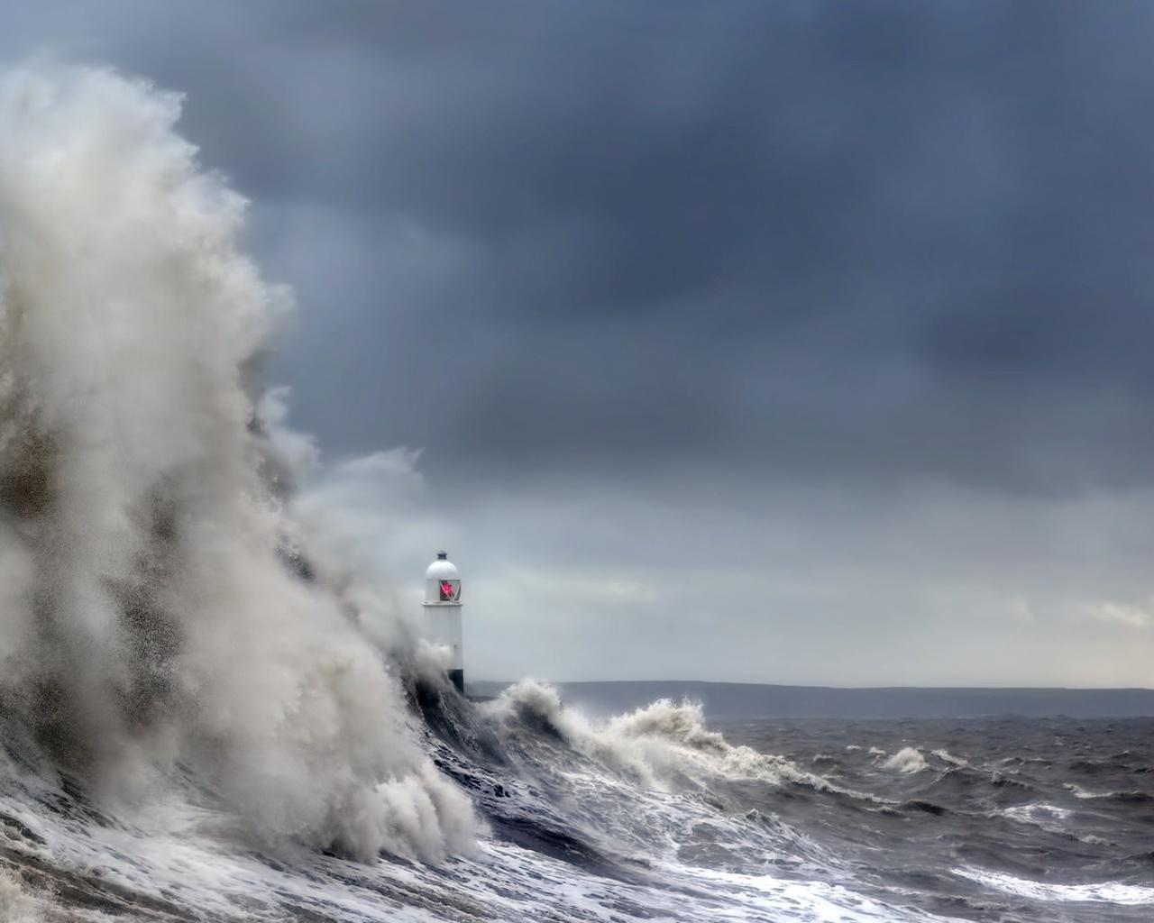 океан, стихия, волны, маяк