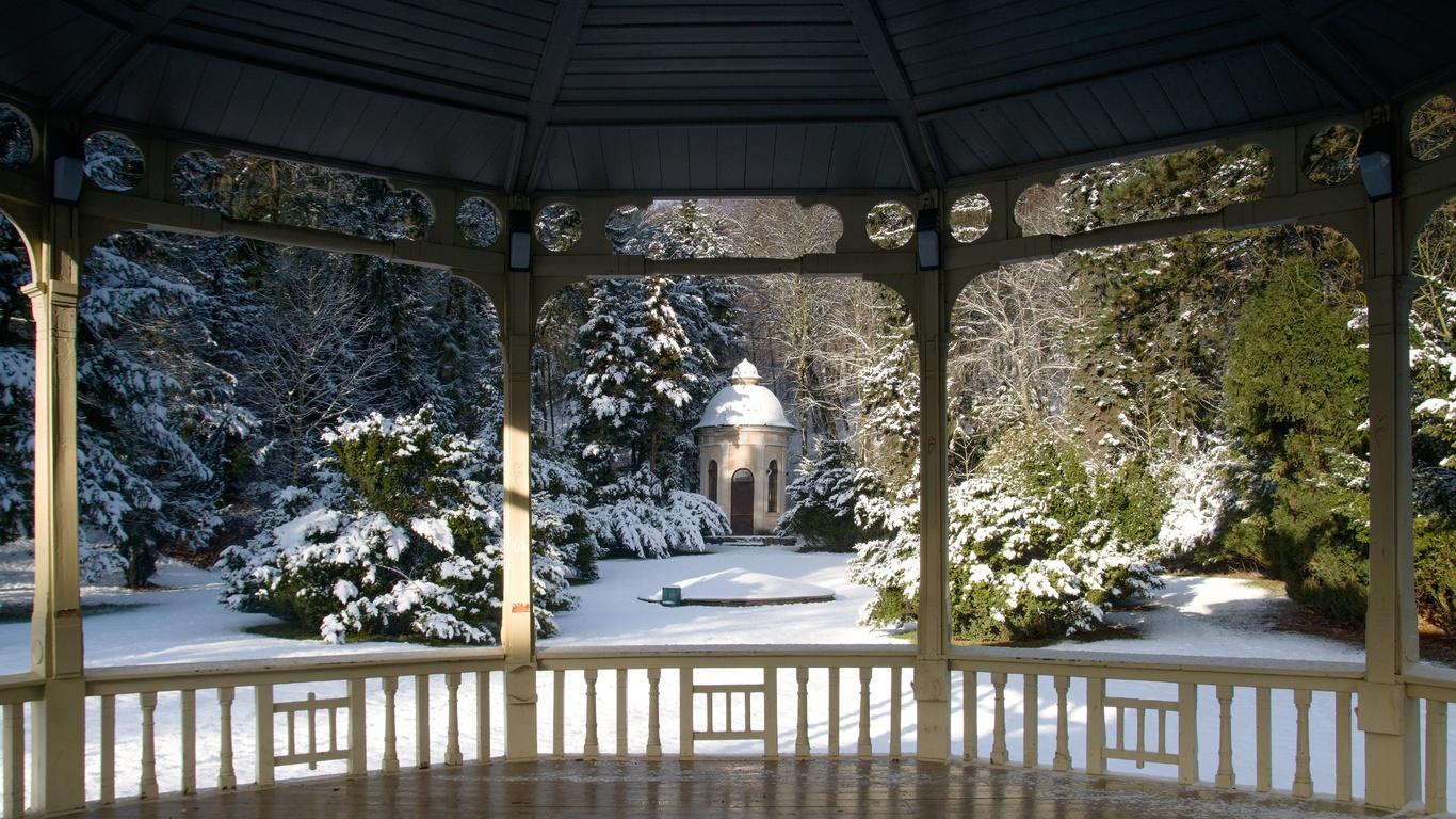 природа, зима, парк, деревья, кусты, снег, беседка
