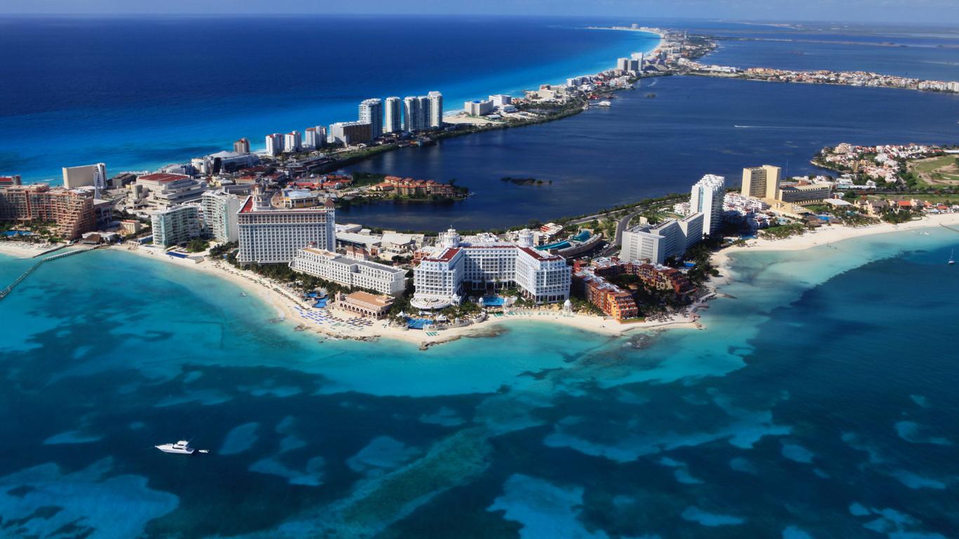 мексика, море, дома, побережье, cancun, город
