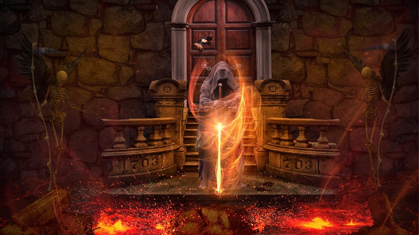 маг волшебник огонь магия, готика, фэнтези, меч, скелет, лава, фэнтези