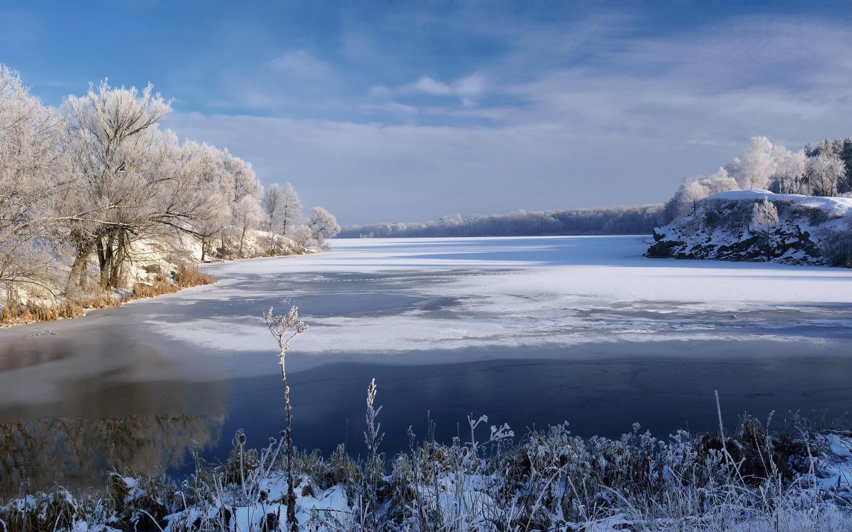 природа, пейзаж, река, берега, деревья, трава, зима, снег