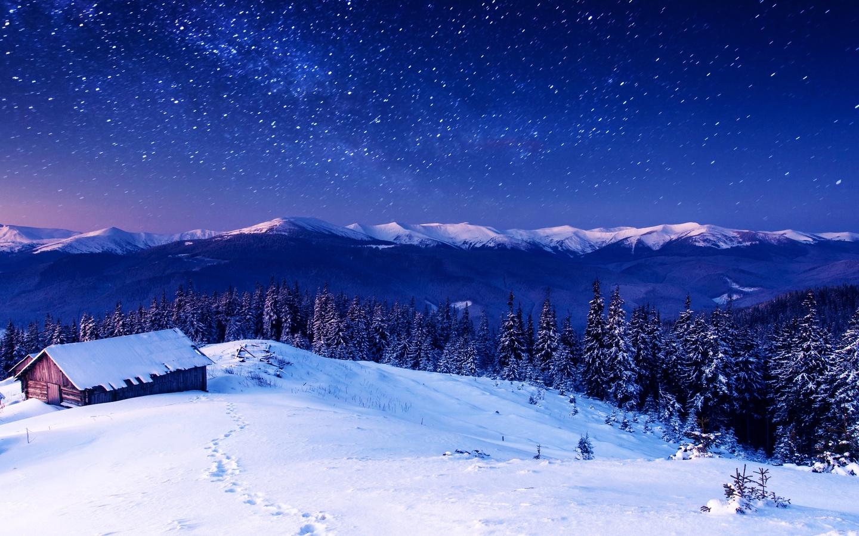 хижина, снег, зима, деревья, звёзды, небо