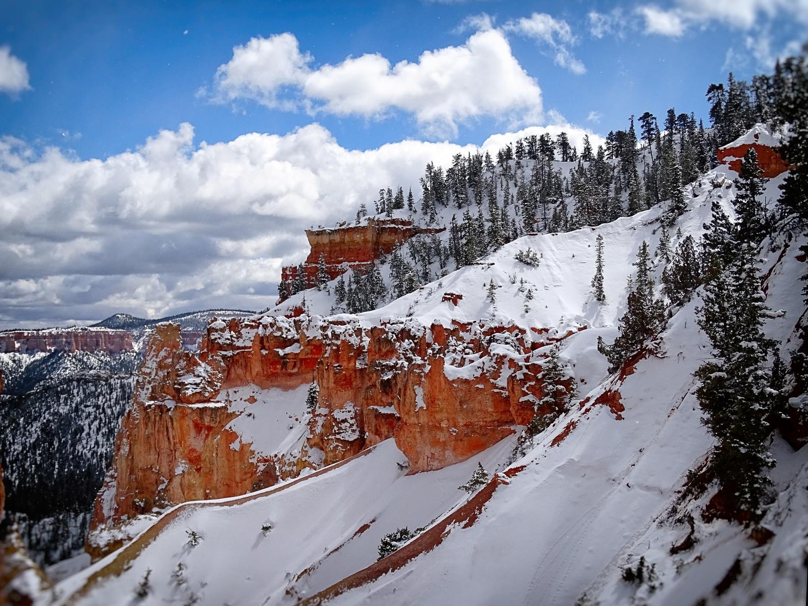 брайс каньон, юта, пейзаж, зима