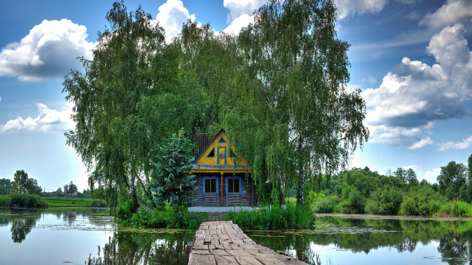 домик, мостик, берёзы, украина,старый солотвин
