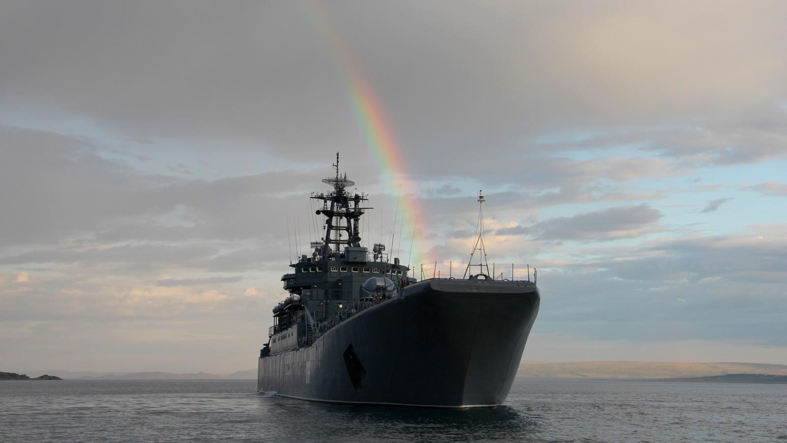 десантный, корабль, радуга