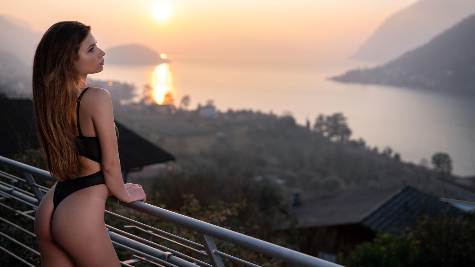 women, marco squassina, sunset, sea, body lingerie, brunette, women outdoors, looking away, ass, long hair, black lingerie, balcony