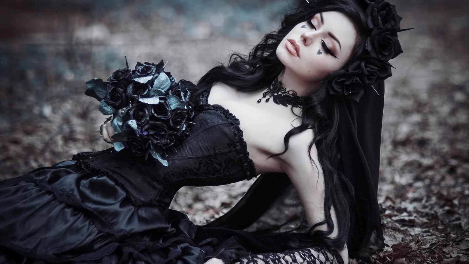 готика, розы, черный, фэнтези, косплей
