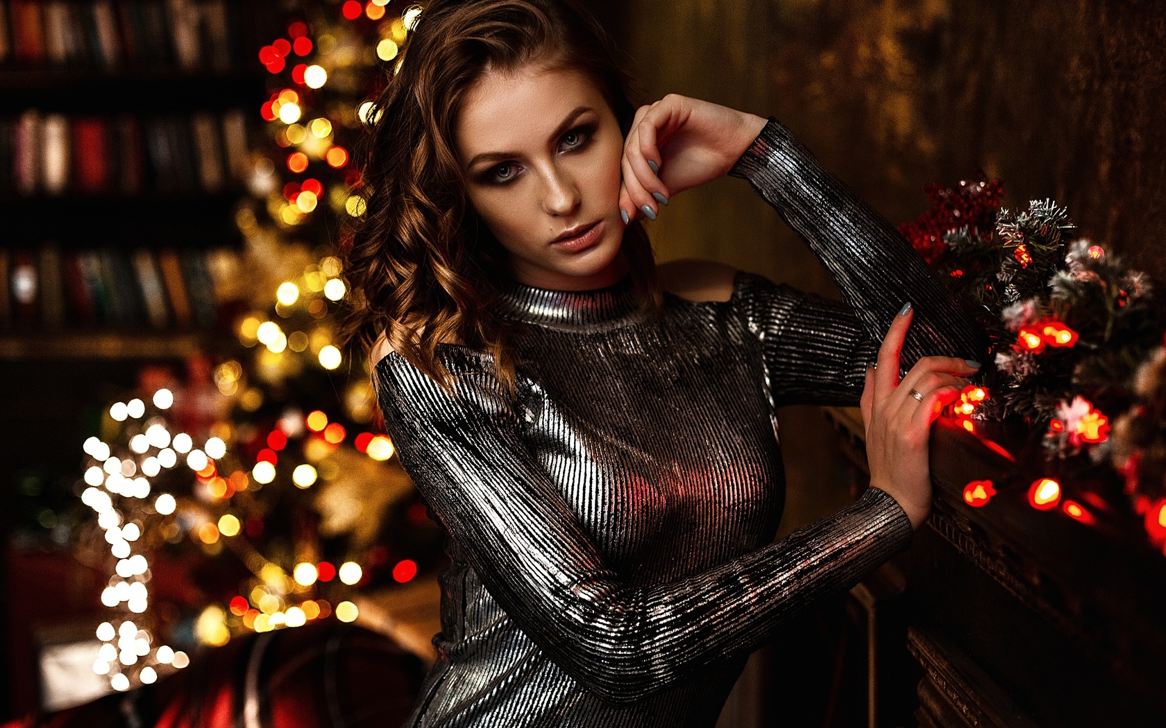 vlad popov, девушка, шатенка, платье, новый год