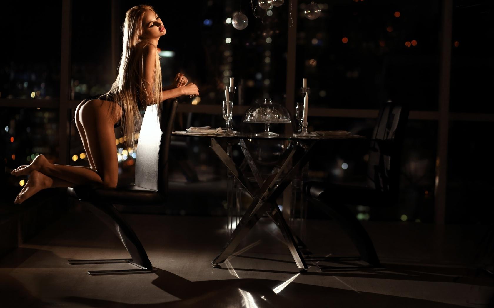 women, kneeling, brunette, blonde, ass, chair, table, long hair, candles, drinking glass, skinny, black lingerie, bokeh, ника мельн ,александр мельн
