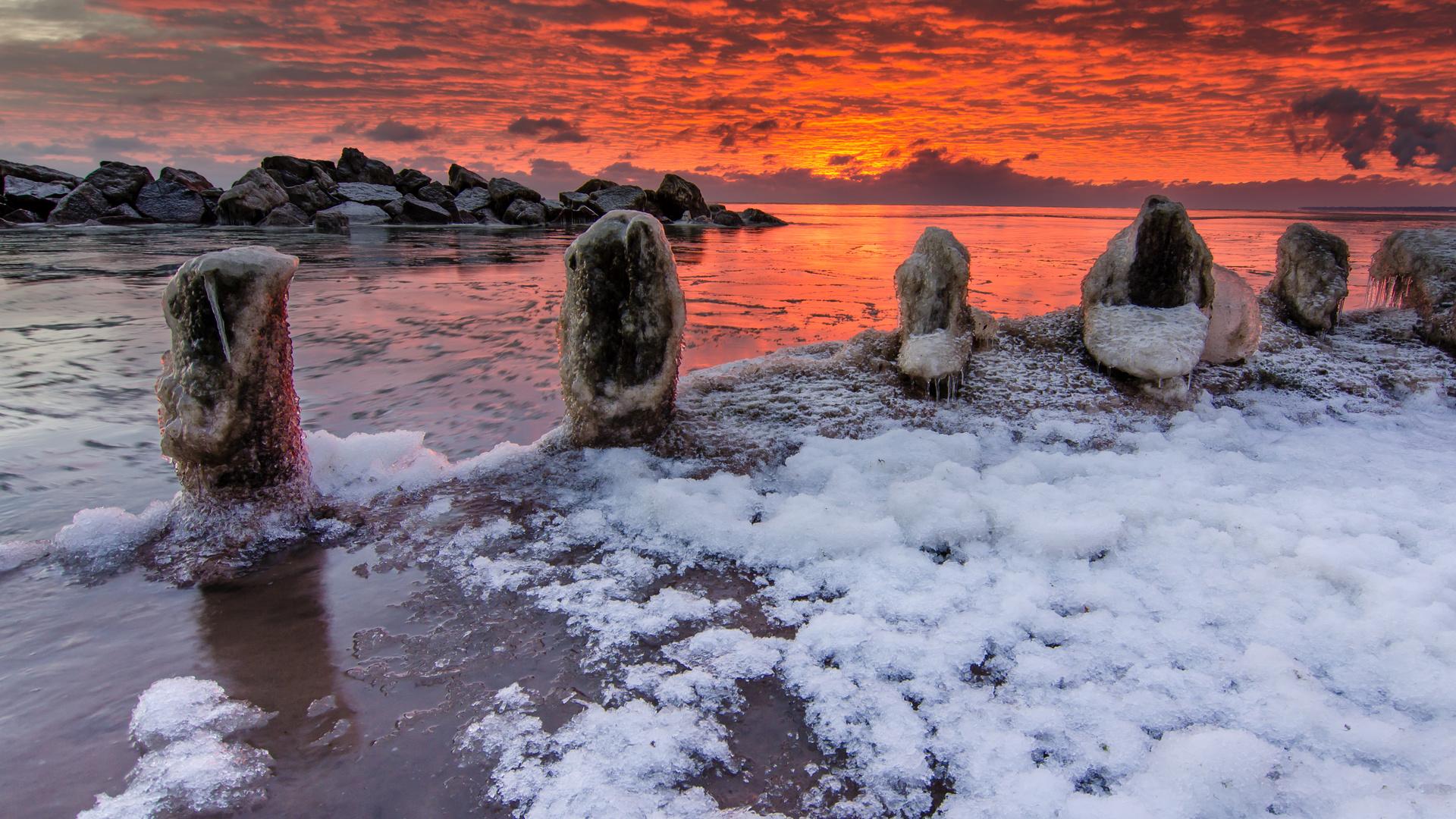 море, закат, зима, лёд