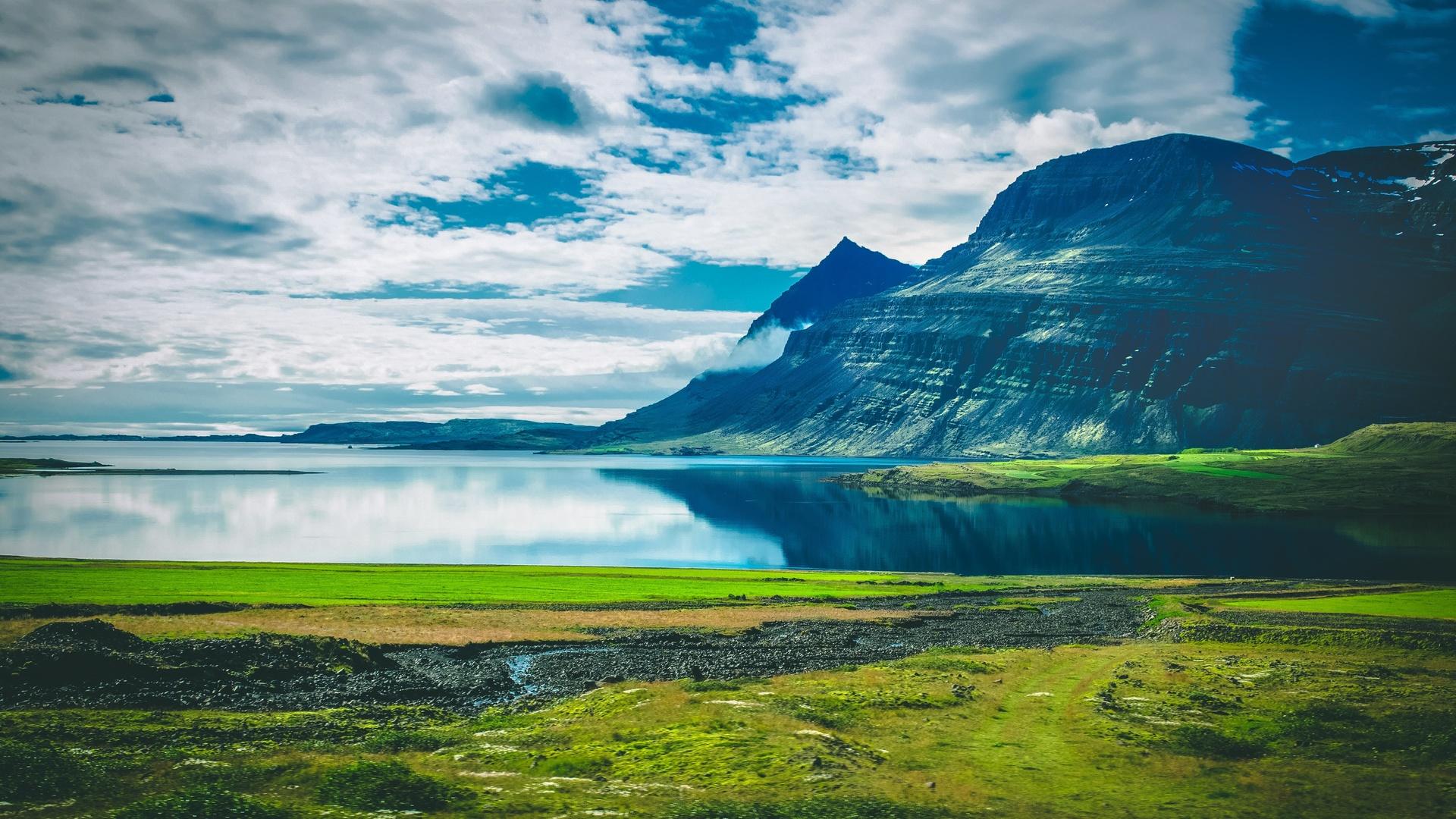 озеро, горы, пейзаж, облака, остров