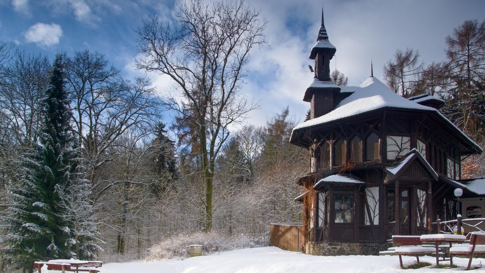 Чехия, богемия, природа, пейзаж, лес, деревья, зима, снег, дом, кафе, столики