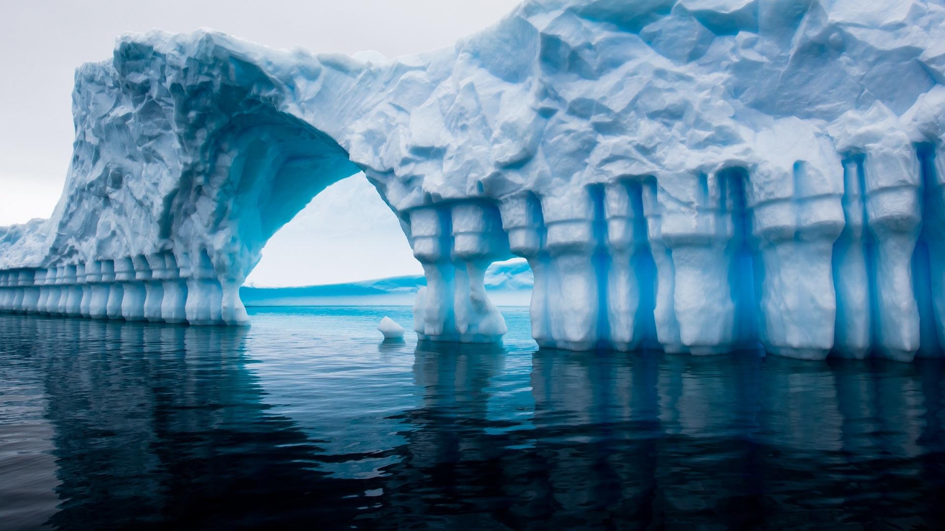 антарктида, айсберг, синий, вода, океан, море, отражение, antarctica